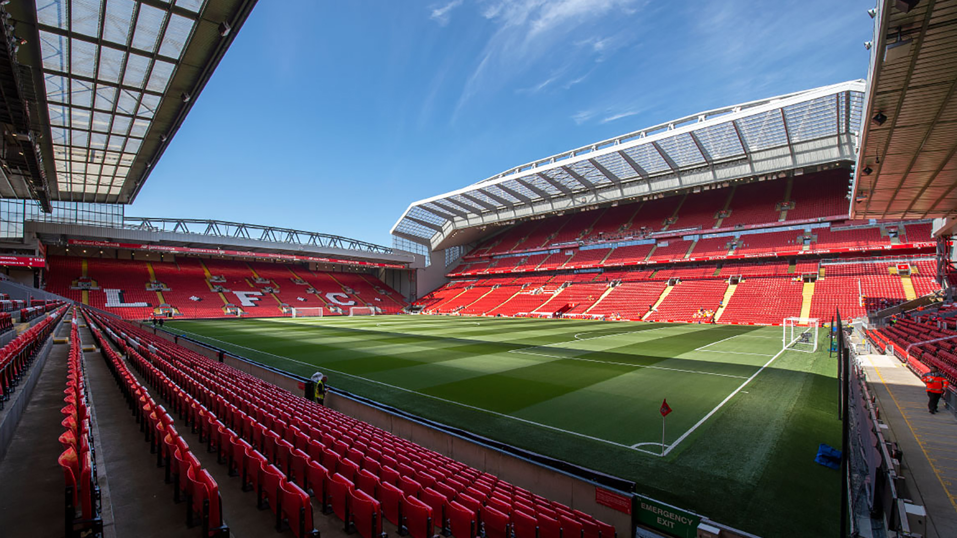 Anfield Stadium. Virtual background to use on Zoom, Microsoft Teams, Skype, Google Meet, WebEx or any other compatible app.