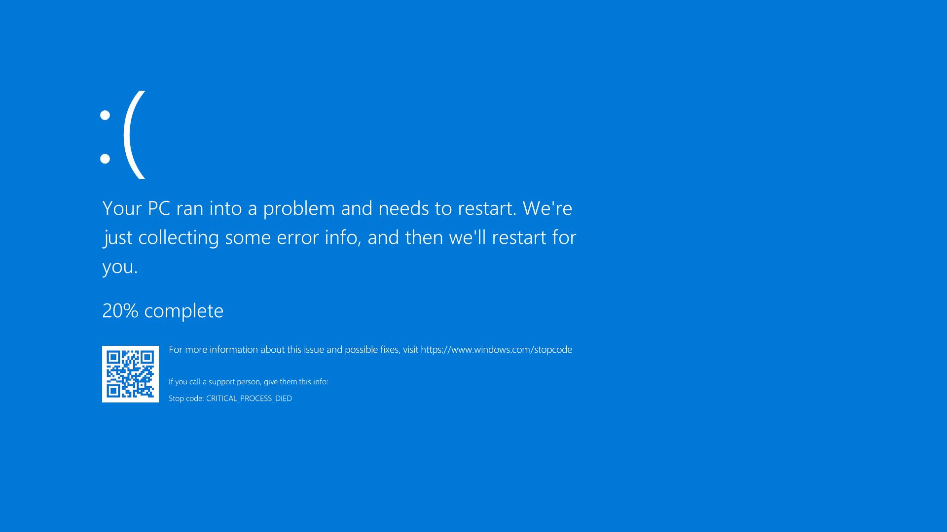 Blue screen of death en Windows 10. Fondo virtual gratuito para Zoom, Microsoft Teams, Skype, Google Meet, WebEx o cualquier otra aplicación compatible.