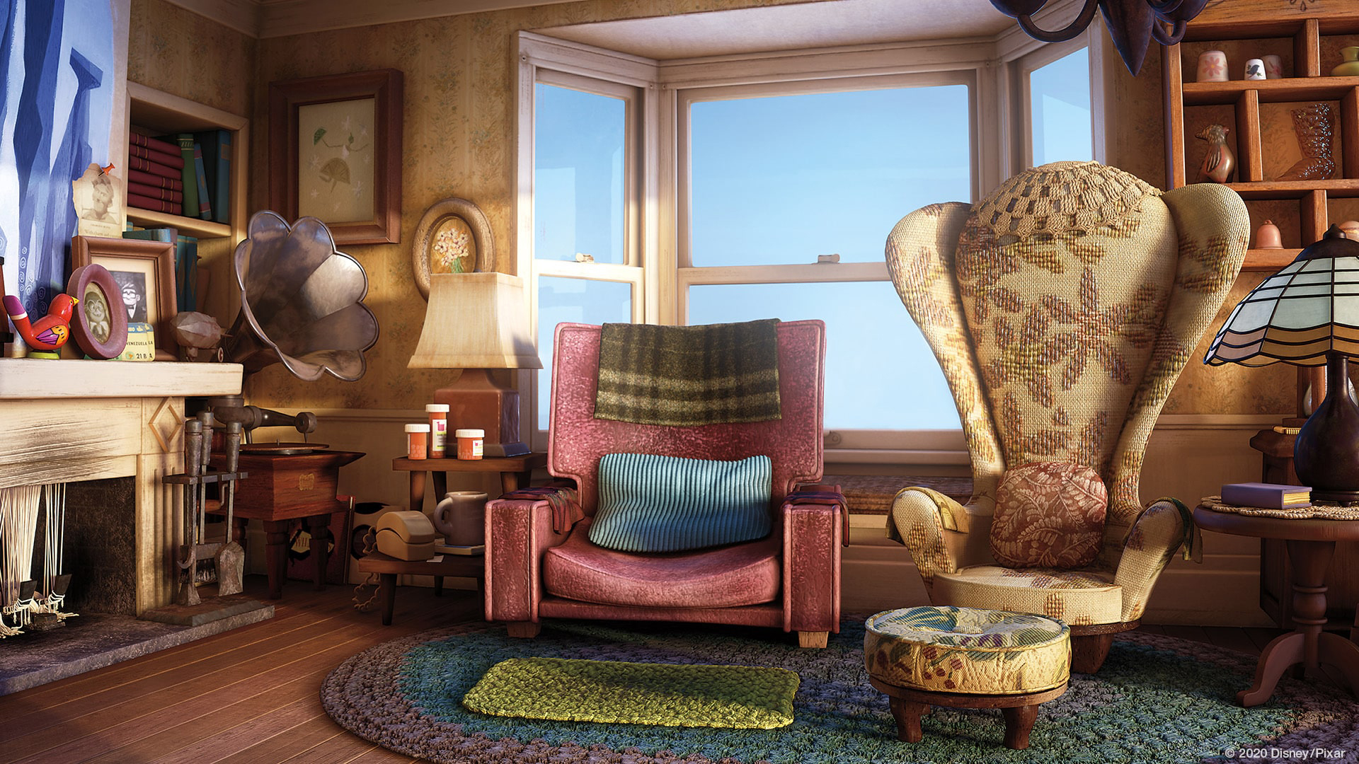 Carl and Ellie's living room in Up. Virtual background to use on Zoom, Microsoft Teams, Skype, Google Meet, WebEx or any other compatible app.