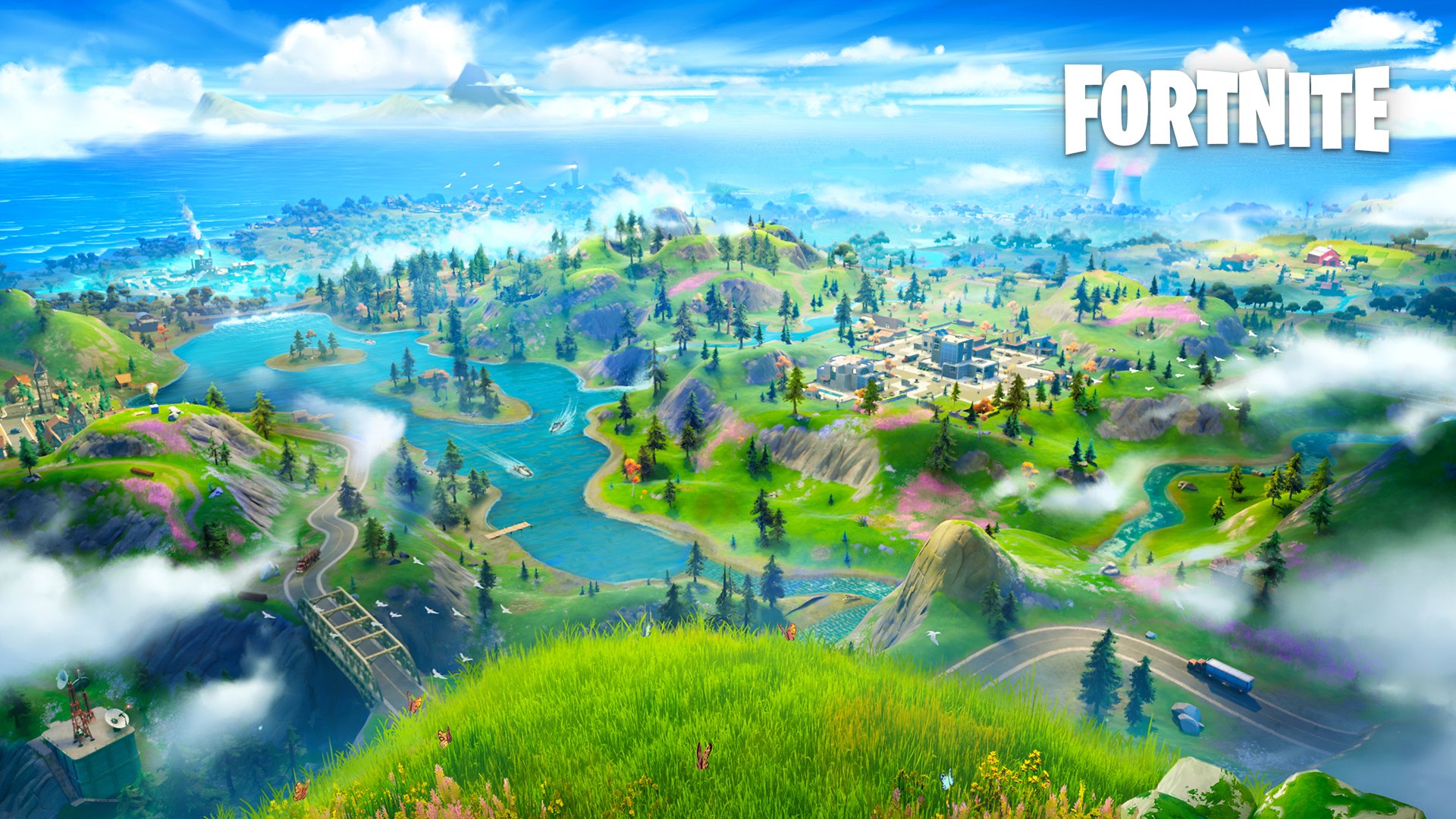 Fortnite chapter 2 landscape. Virtual background to use on Zoom, Microsoft Teams, Skype, Google Meet, WebEx or any other compatible app.