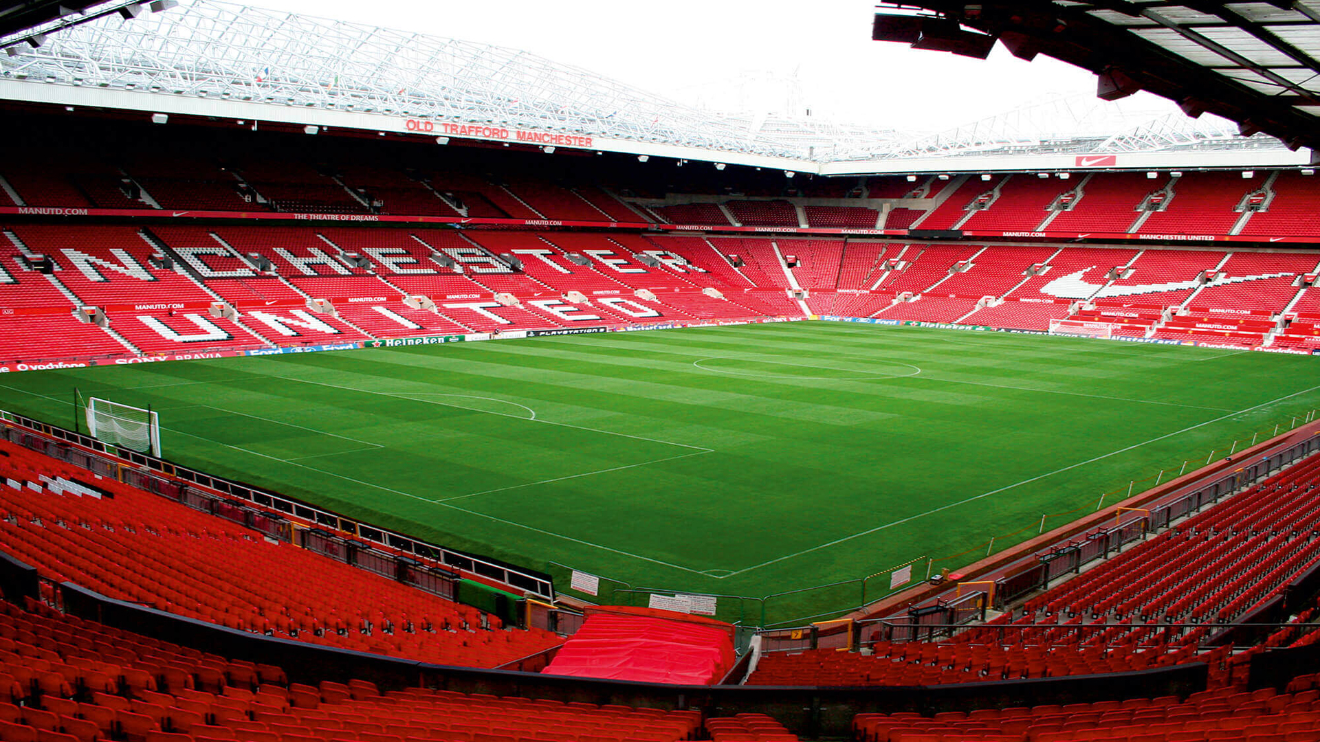 Old Trafford Stadium. Virtual background to use on Zoom, Microsoft Teams, Skype, Google Meet, WebEx or any other compatible app.