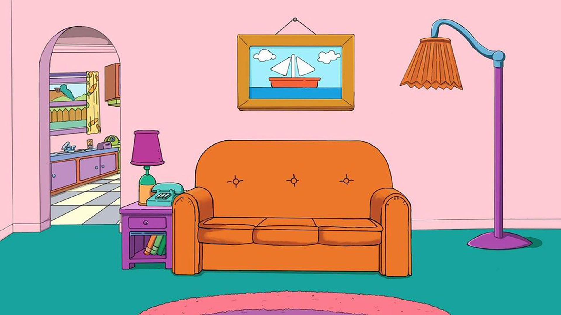 Simpsons couch. Virtual background to use on Zoom, Microsoft Teams, Skype, Google Meet, WebEx or any other compatible app.