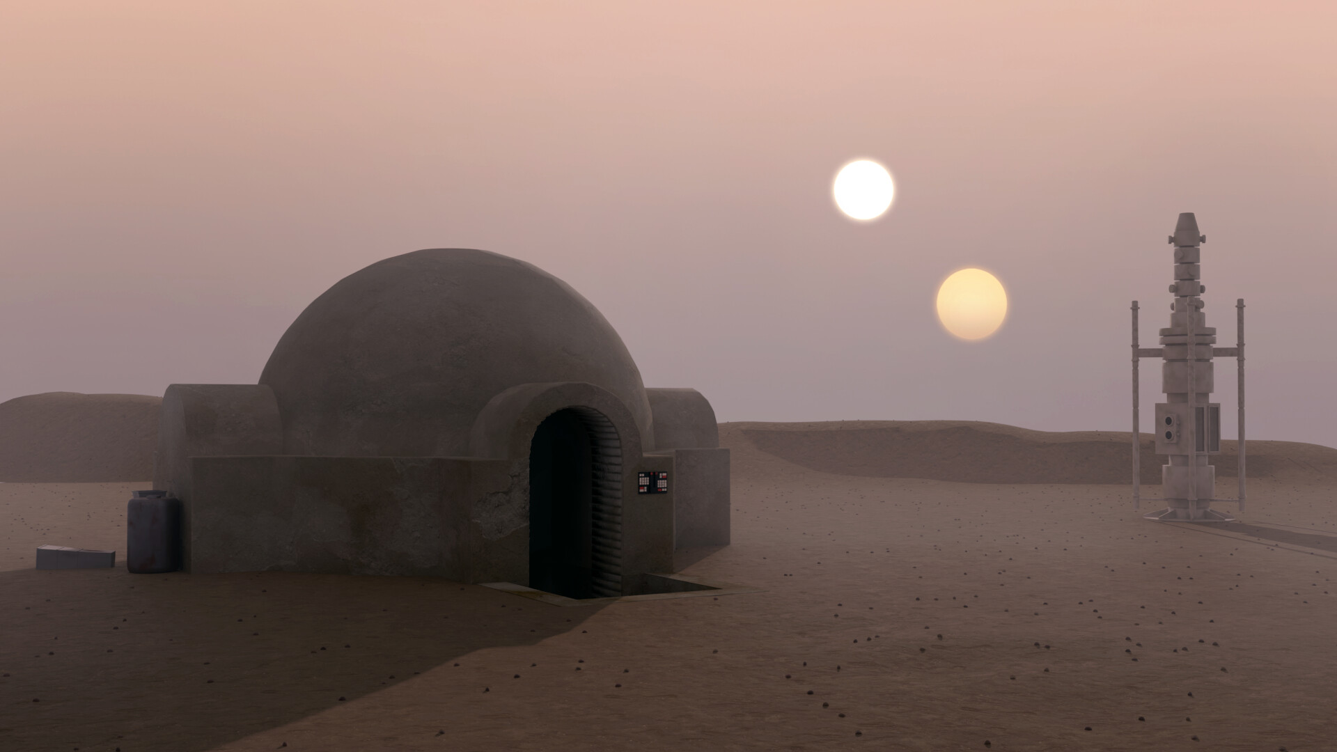 Star Wars the Lars homestead at Tatooine. Virtual background to use on Zoom, Microsoft Teams, Skype, Google Meet, WebEx or any other compatible app.
