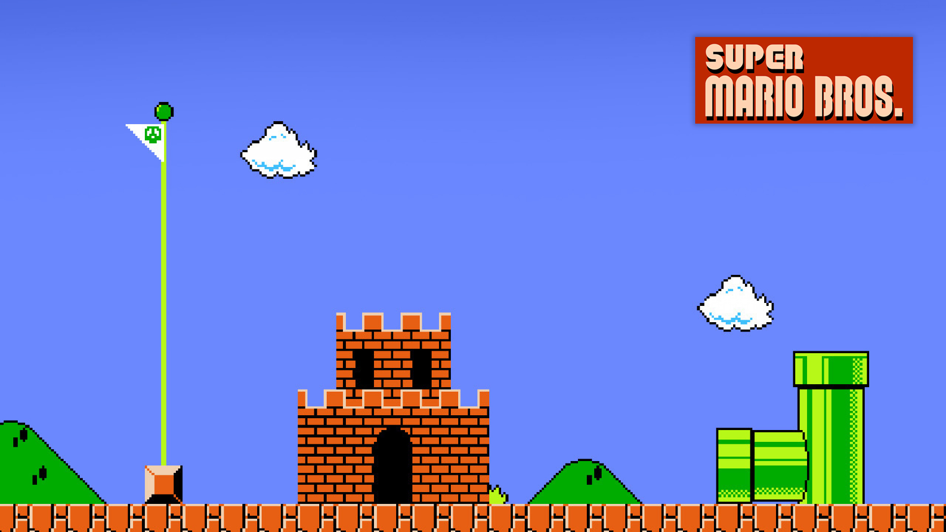 Super Mario Bros level ending. Virtual background to use on Zoom, Microsoft Teams, Skype, Google Meet, WebEx or any other compatible app.