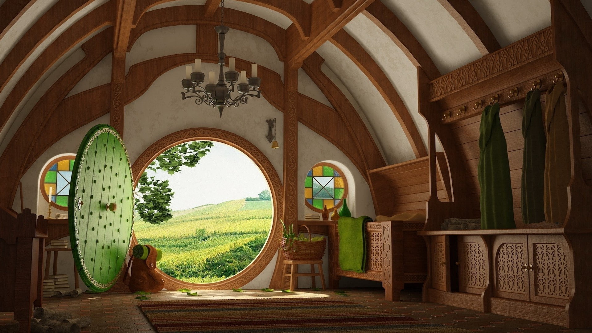 The Lord of the Rings hobbit house entrance. Virtual background to use on Zoom, Microsoft Teams, Skype, Google Meet, WebEx or any other compatible app.