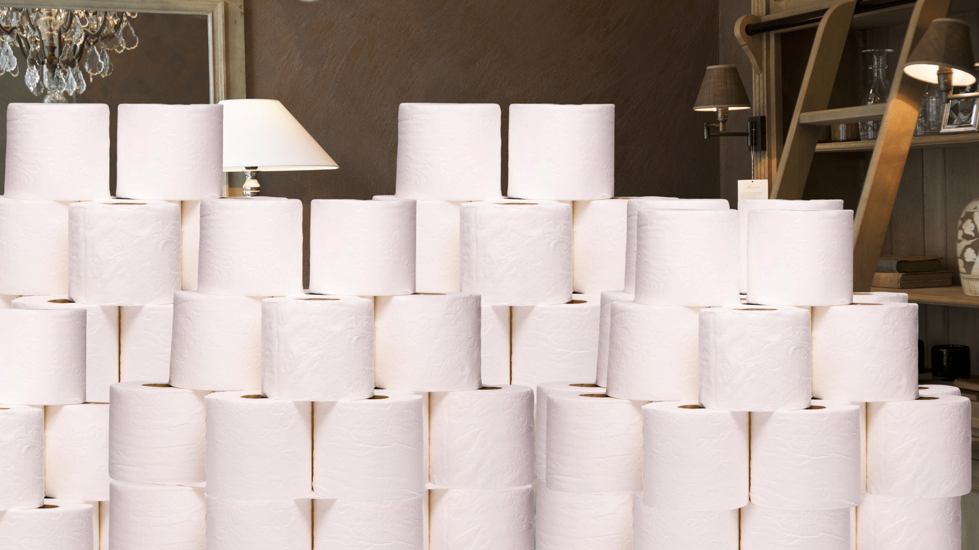 Toilet paper in the living room. Virtual background to use on Zoom, Microsoft Teams, Skype, Google Meet, WebEx or any other compatible app.