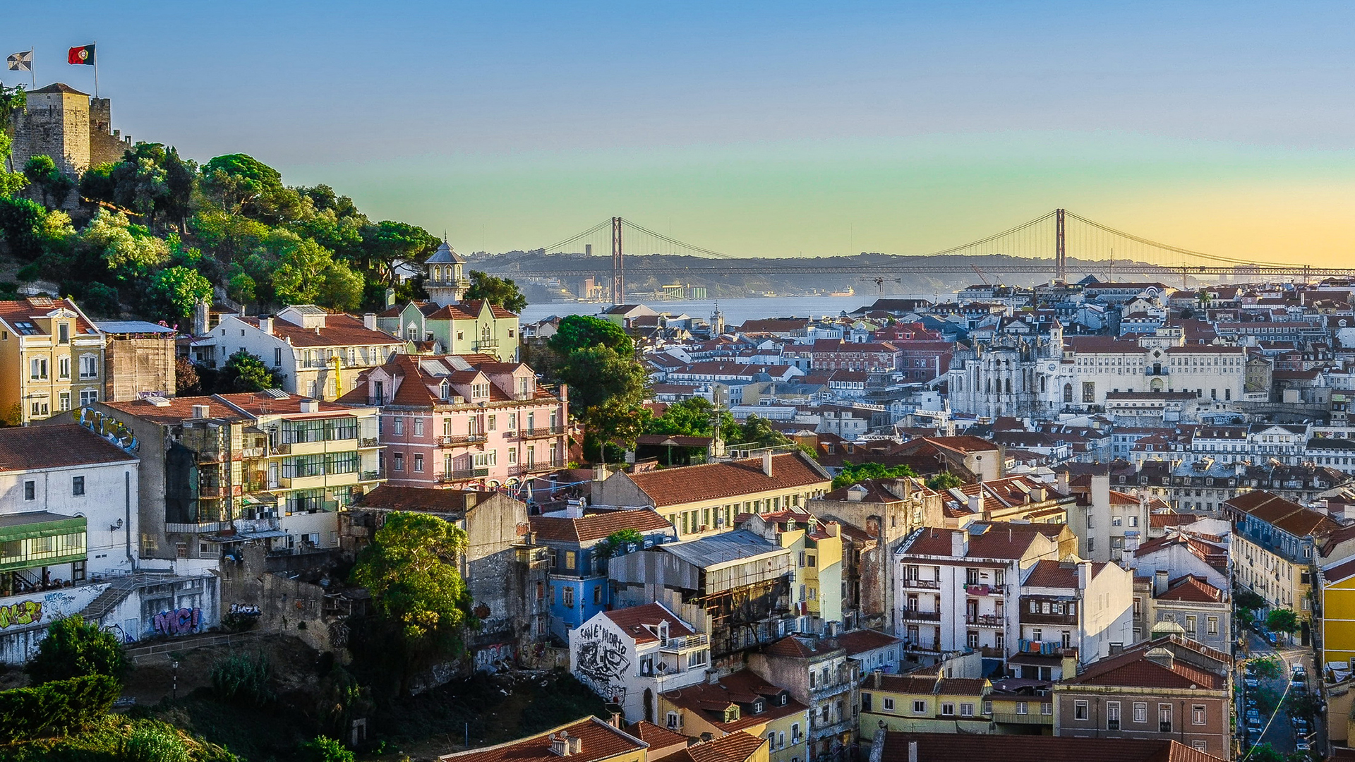 View over Lisbon. Virtual background to use on Zoom, Microsoft Teams, Skype, Google Meet, WebEx or any other compatible app.