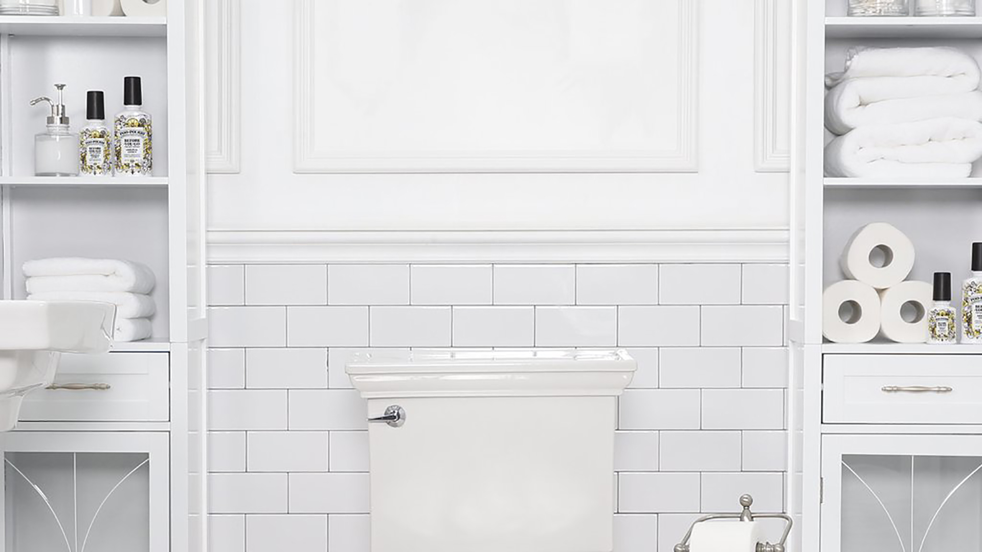 White bathroom. Virtual background to use on Zoom, Microsoft Teams, Skype, Google Meet, WebEx or any other compatible app.
