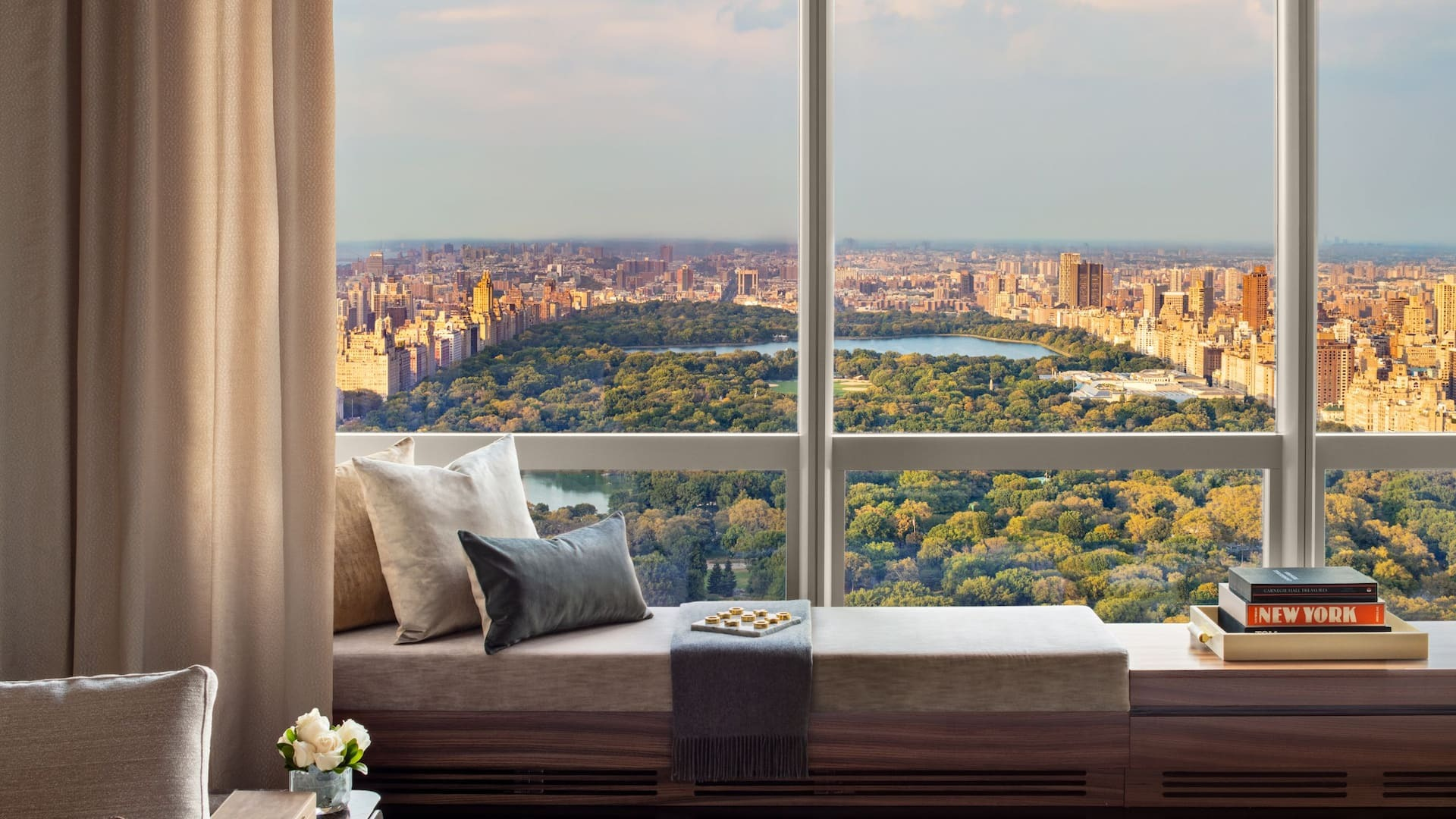 Hotel view over Central Park. Virtual background to use on Zoom, Microsoft Teams, Skype, Google Meet, WebEx or any other compatible app.
