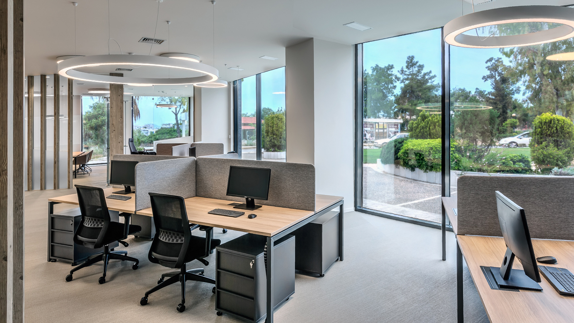 Office with a garden view. Virtual background to use on Zoom, Microsoft Teams, Skype, Google Meet, WebEx or any other compatible app.