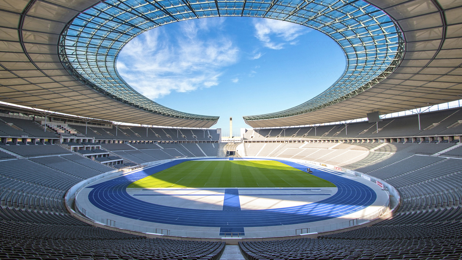 Olympiastadion Berlin. Virtual background to use on Zoom, Microsoft Teams, Skype, Google Meet, WebEx or any other compatible app.