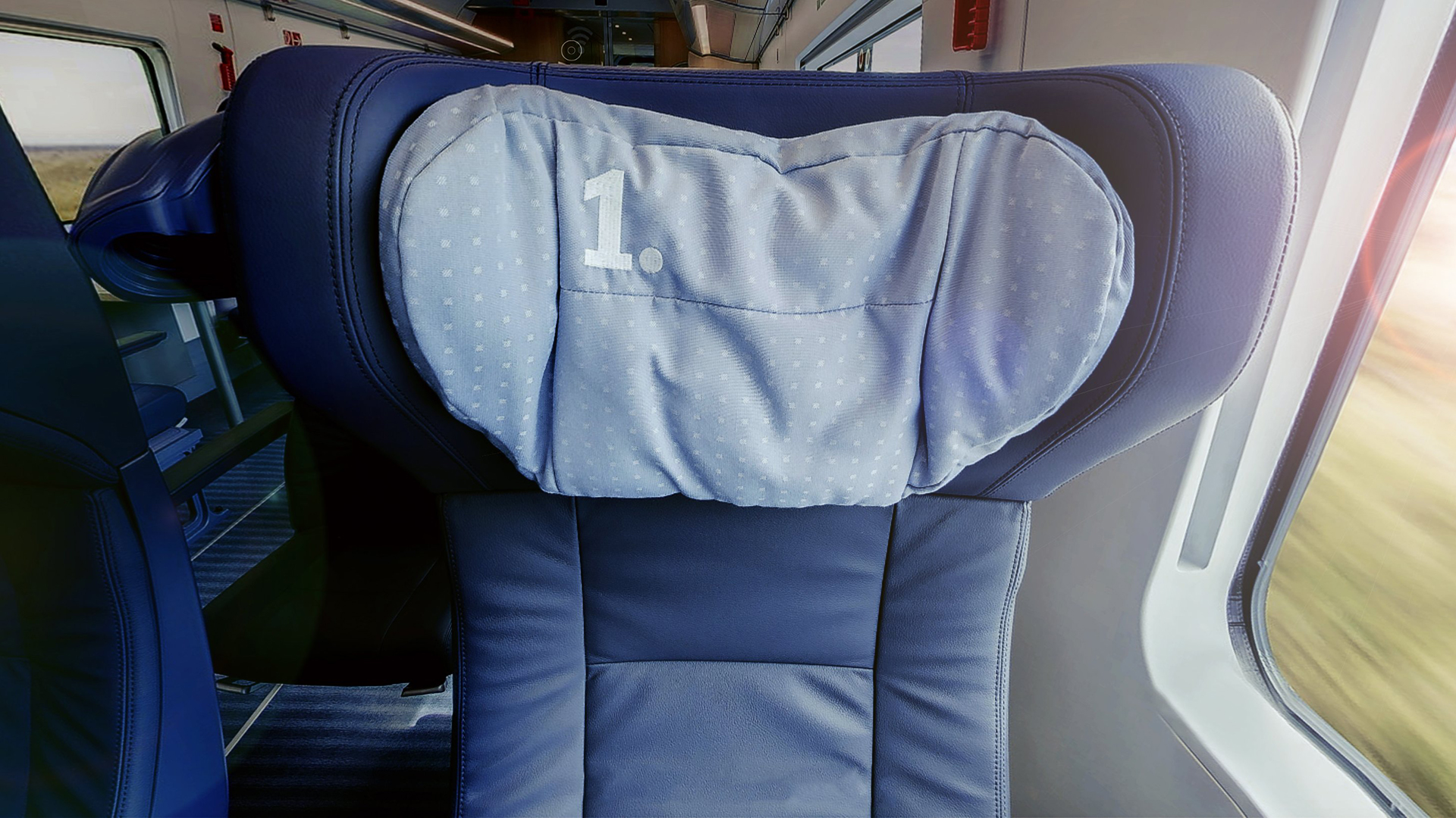 Deutsche Bahn ICE 4 train first class seat. Virtual background to use on Zoom, Microsoft Teams, Skype, Google Meet, WebEx or any other compatible app.