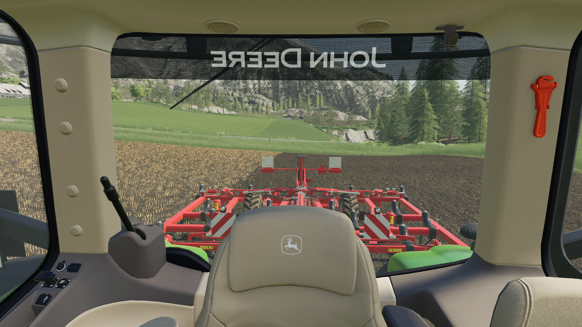 Farming Simulator John Deere 8R tractor. Virtual background to use on Zoom, Microsoft Teams, Skype, Google Meet, WebEx or any other compatible app.