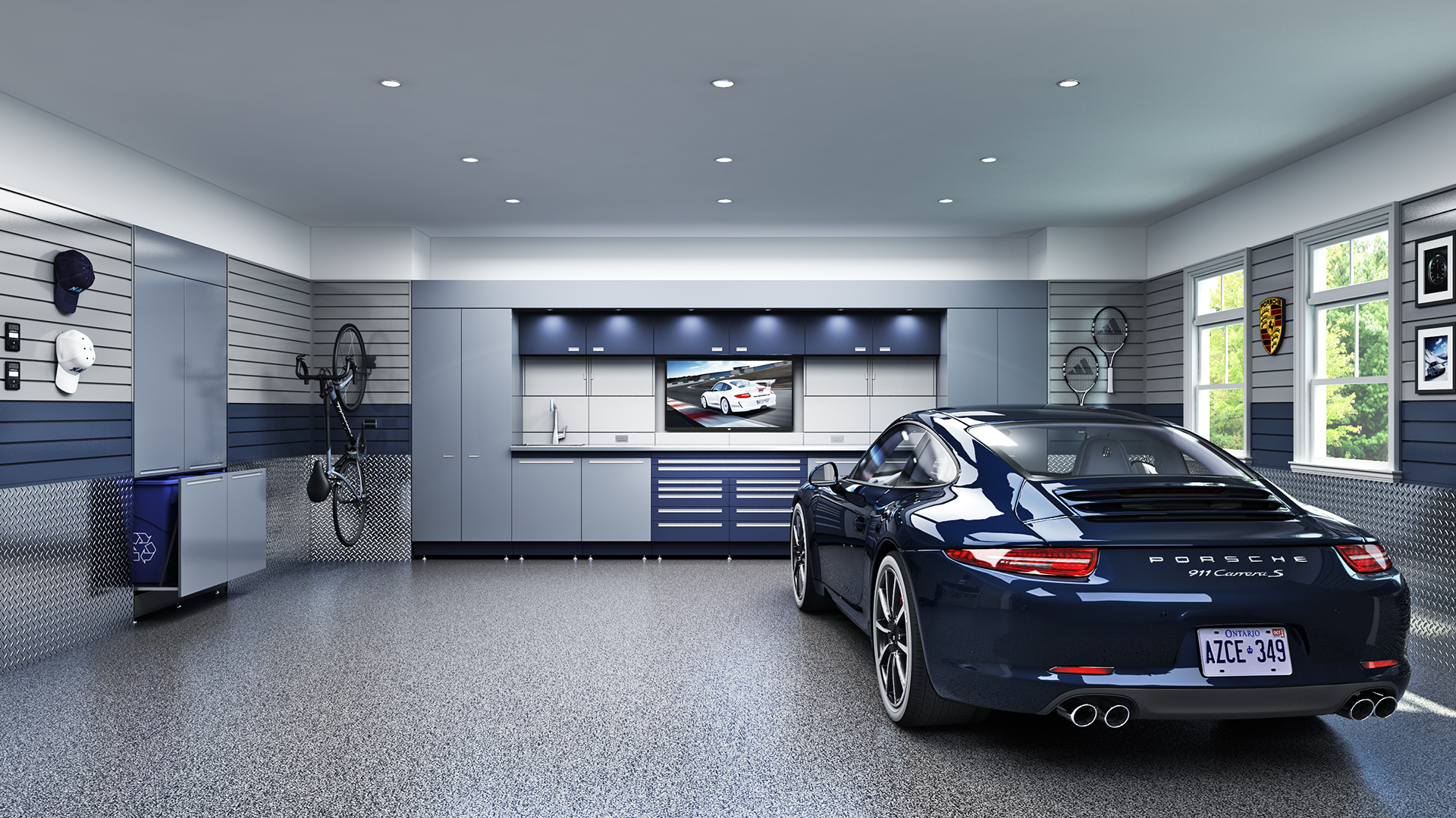 Garage with a Porsche 911 Carrera S. Virtual background to use on Zoom, Microsoft Teams, Skype, Google Meet, WebEx or any other compatible app.