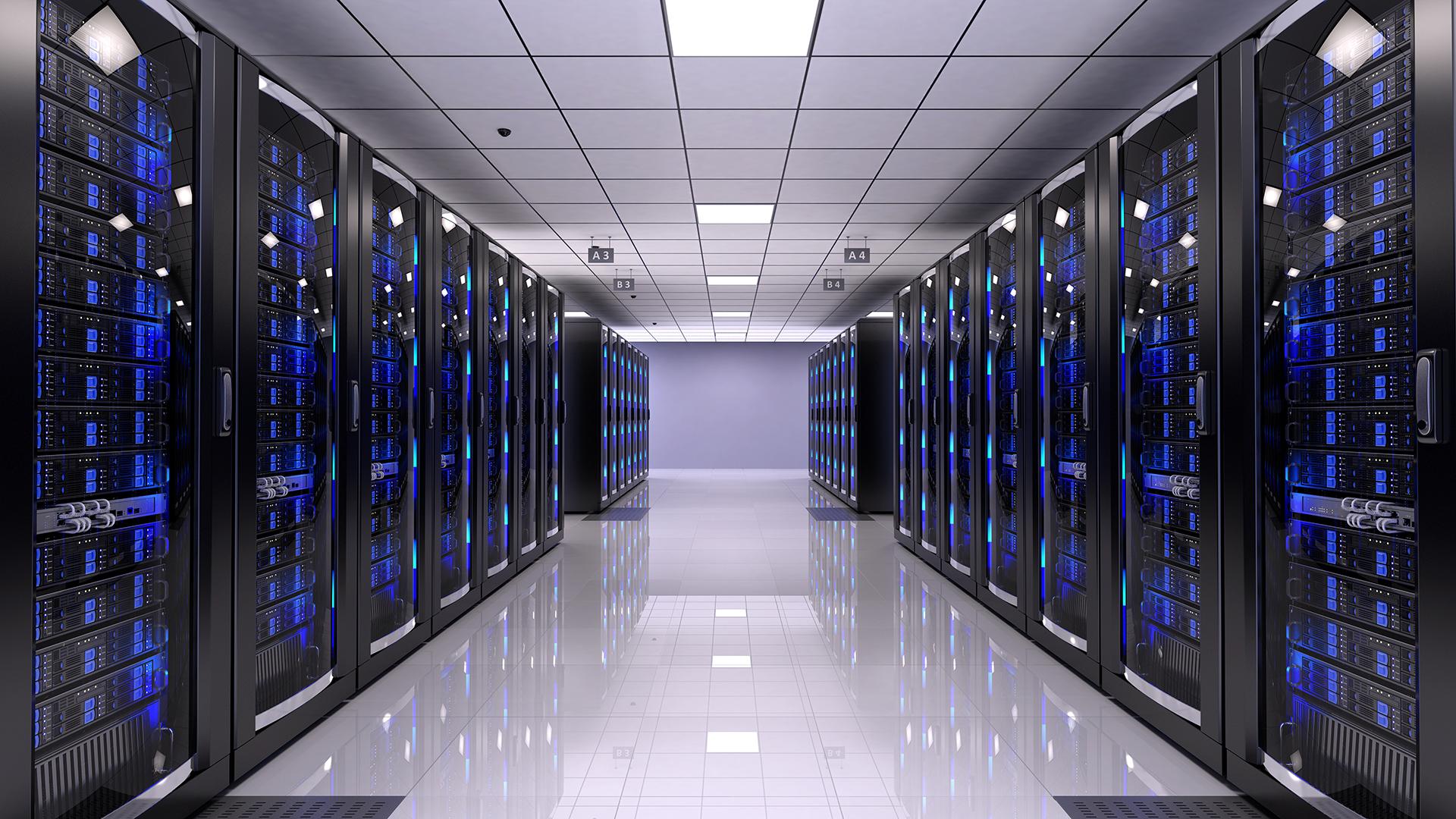 Sala de servidores organizada. Fundo virtual gratuito para Zoom, Microsoft Teams, Skype, Google Meet e WebEx ou qualquer outra aplicação compatível.