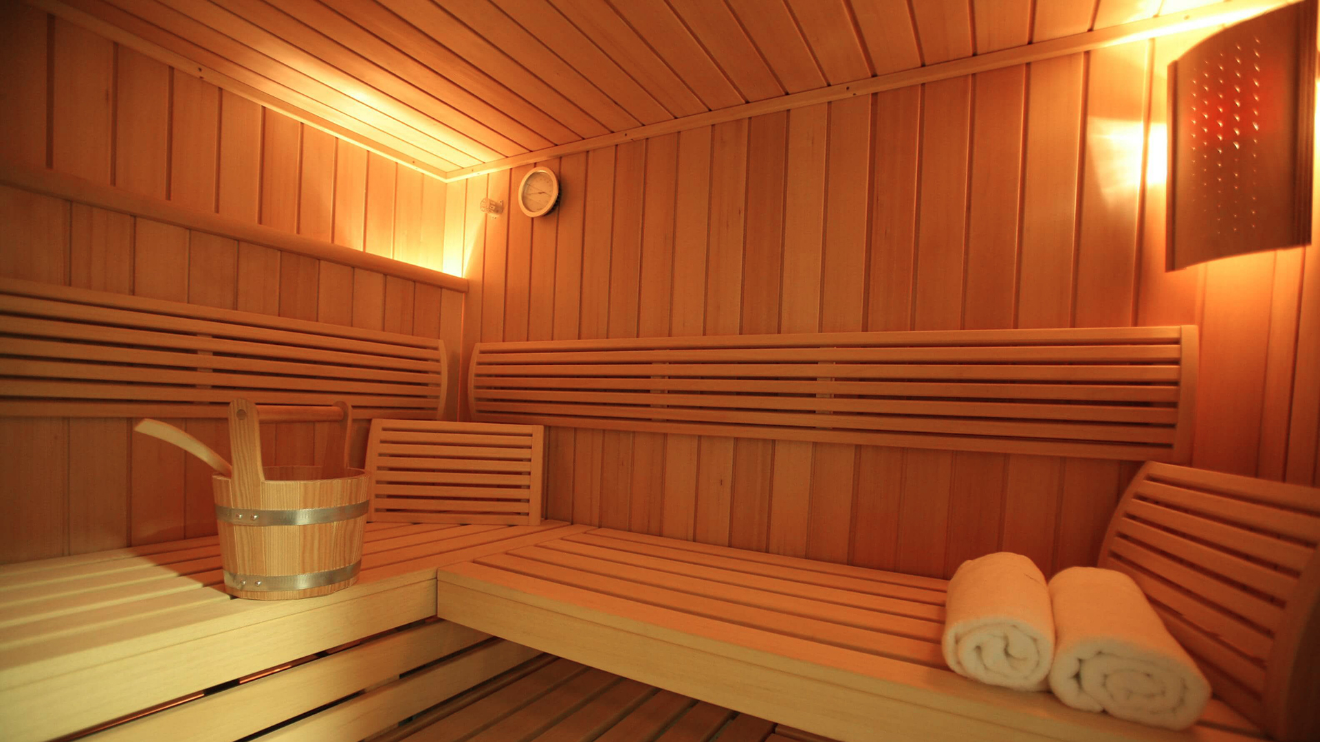 Sauna. Virtual background to use on Zoom, Microsoft Teams, Skype, Google Meet, WebEx or any other compatible app.