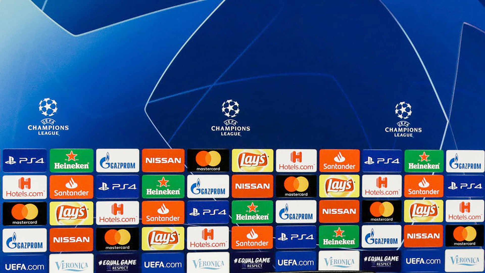 UEFA Champions League sponsors board. Virtual background to use on Zoom, Microsoft Teams, Skype, Google Meet, WebEx or any other compatible app.