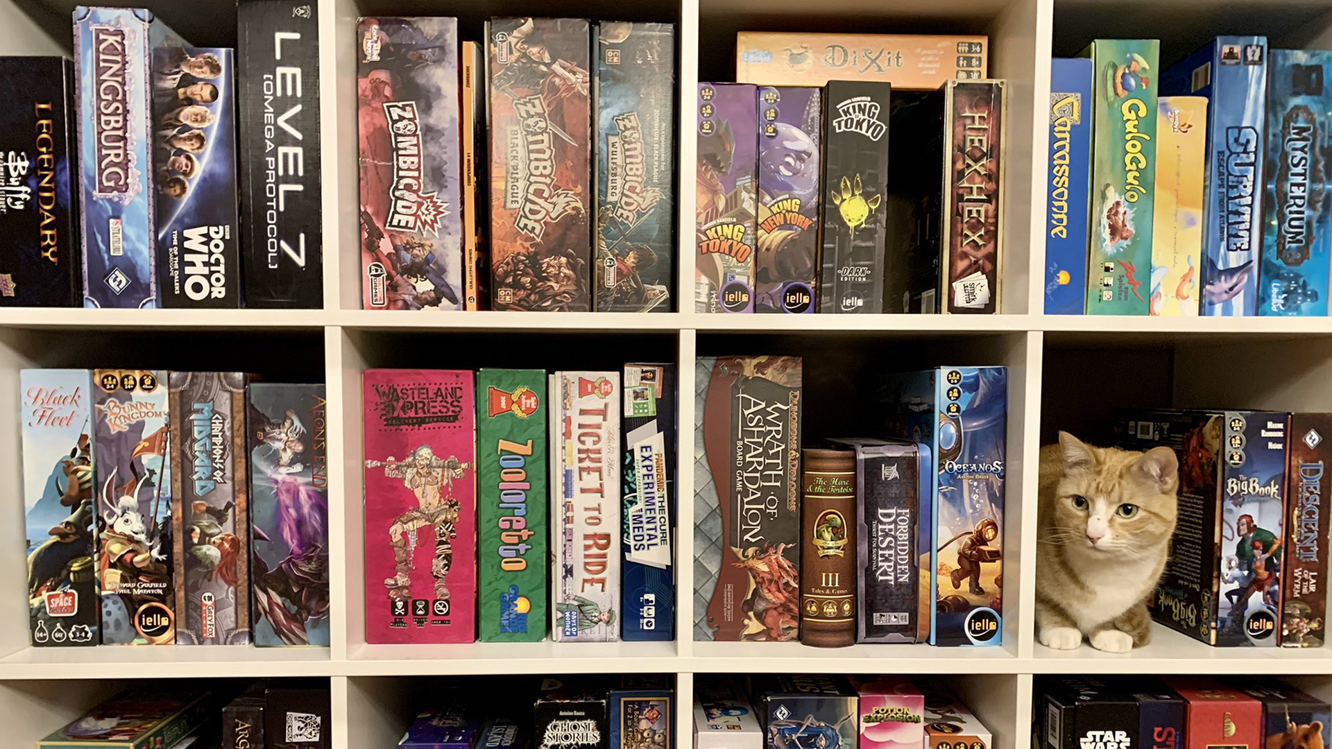 Board games collection shelf. Virtual background to use on Zoom, Microsoft Teams, Skype, Google Meet, WebEx or any other compatible app.