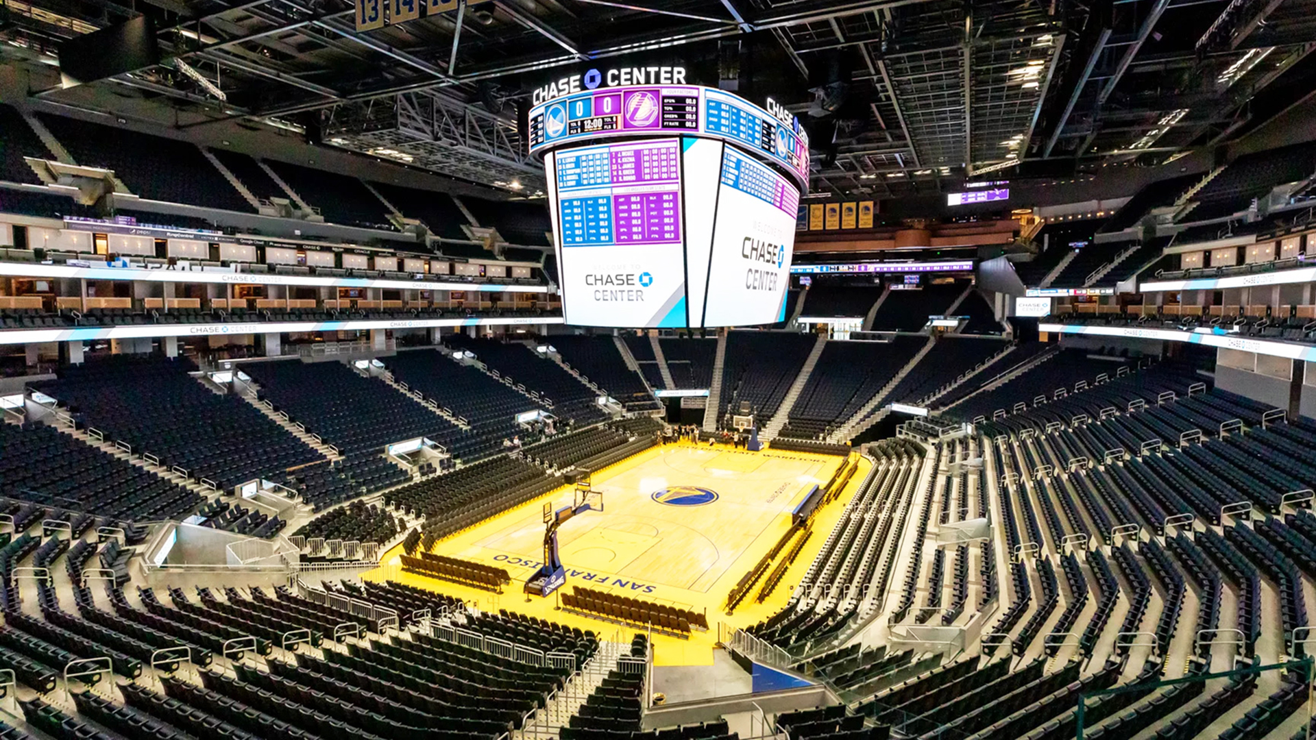 Chase Center Arena. Virtual background to use on Zoom, Microsoft Teams, Skype, Google Meet, WebEx or any other campatible app.