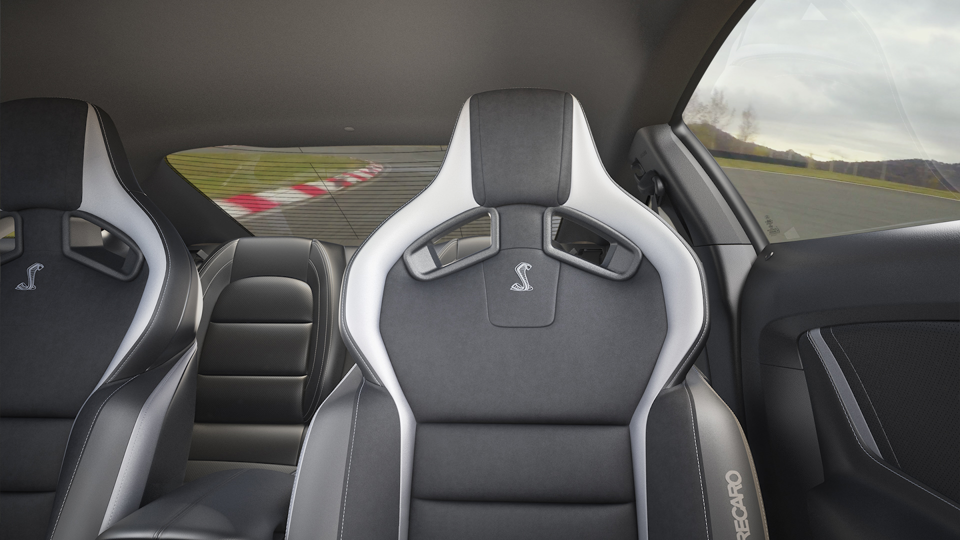 Mustang Shelby GT500 banco do condutor. Fundo virtual gratuito para Zoom, Microsoft Teams, Skype, Google Meet e WebEx ou qualquer outra aplicação compatível.