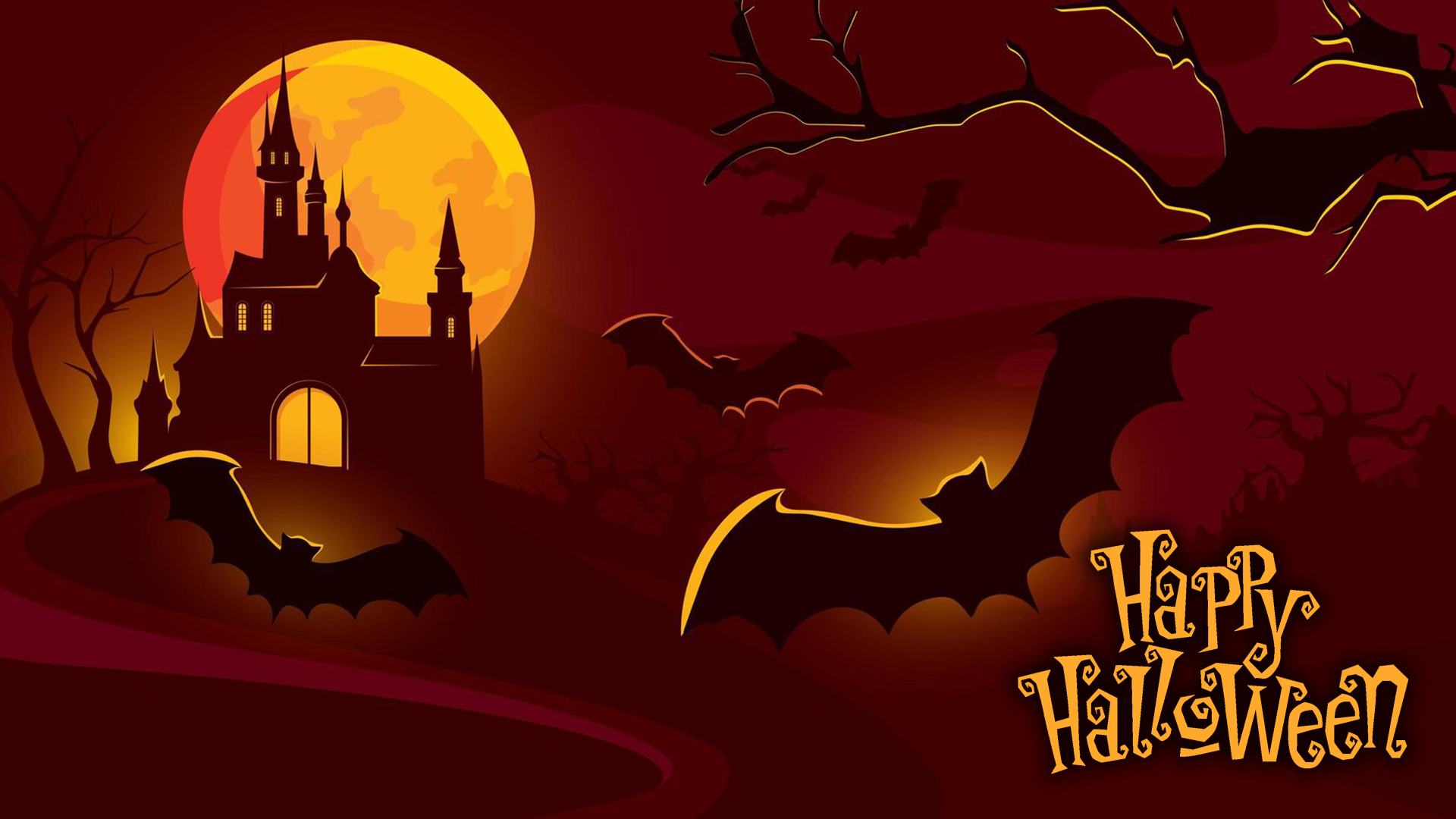 Halloween castle and flying bats. Virtual background to use on Zoom, Microsoft Teams, Skype, Google Meet, WebEx or any other compatible app.