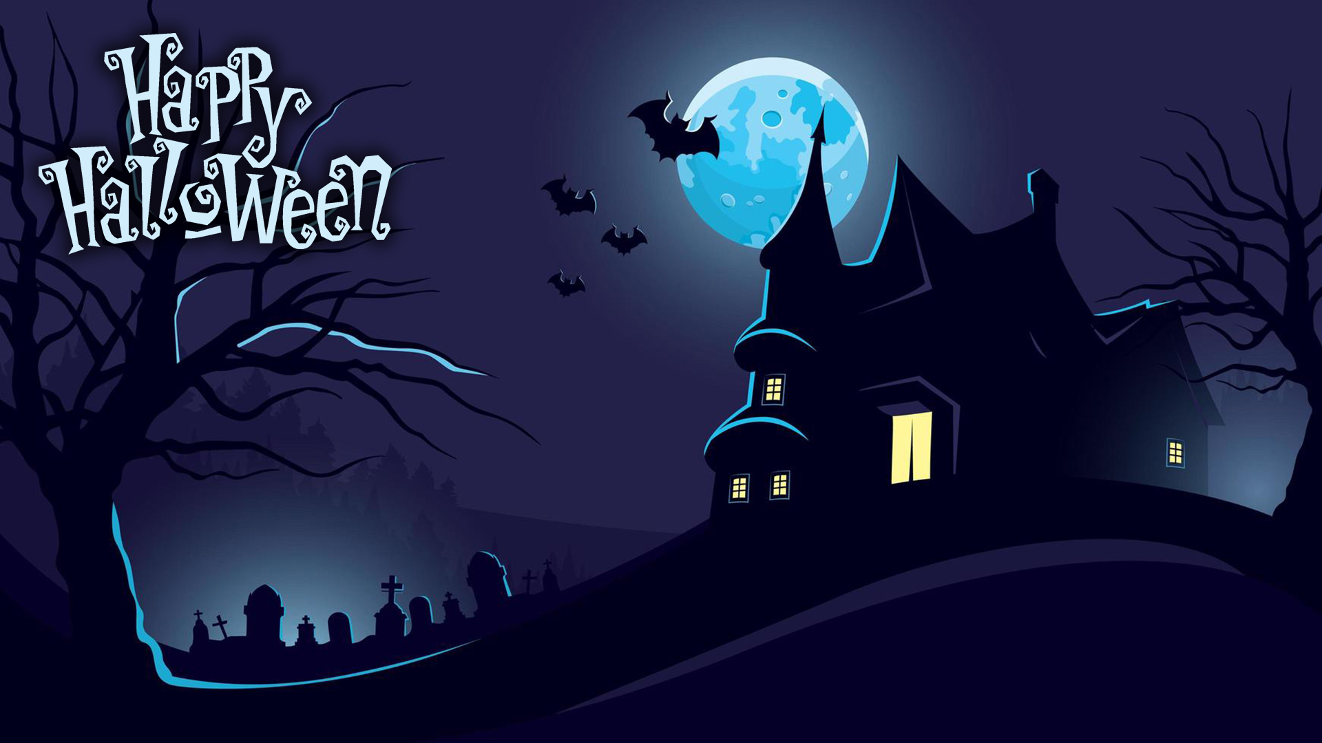 Halloween spooky house at night. Virtual background to use on Zoom, Microsoft Teams, Skype, Google Meet, WebEx or any other compatible app.