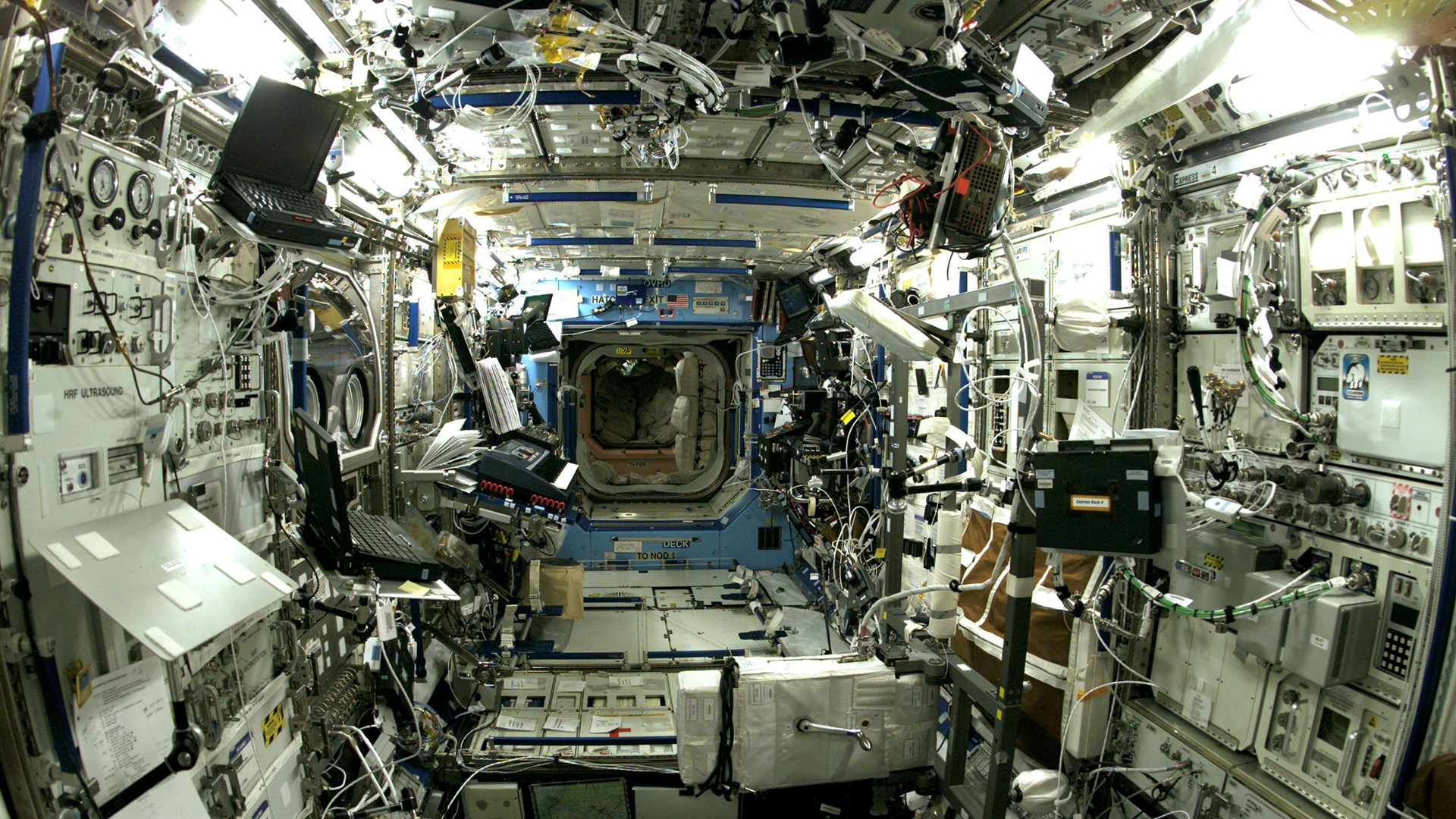 Inside the International Space Station. Virtual background to use on Zoom, Microsoft Teams, Skype, Google Meet, WebEx or any other compatible app.