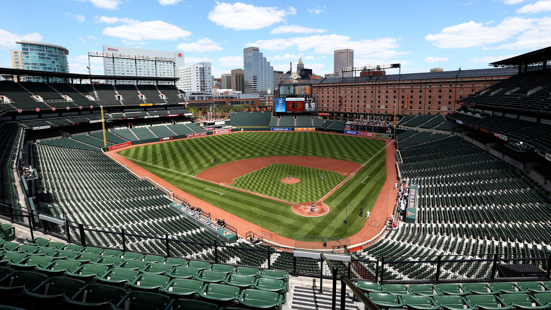 Oriole Park at Camden Yards Ballpark. Virtual background to use on Zoom, Microsoft Teams, Skype, Google Meet, WebEx or any other compatible app.