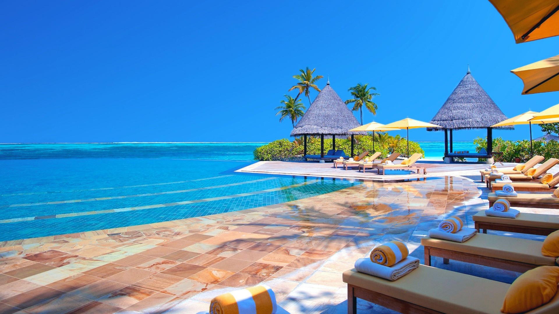 Swimming pool at a tropical resort. Virtual background to use on Zoom, Microsoft Teams, Skype, Google Meet, WebEx or any other compatible app.