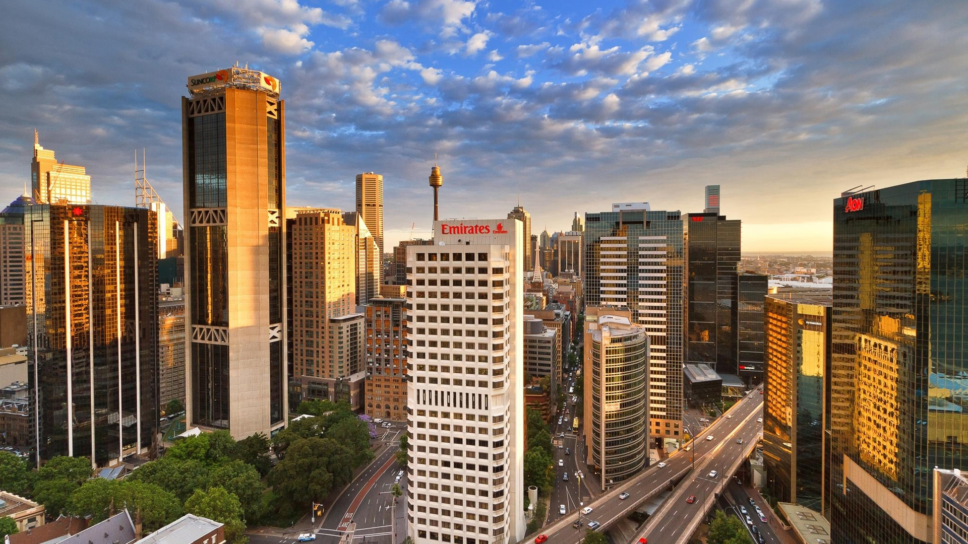 Sydney central business district. Virtual background to use on Zoom, Microsoft Teams, Skype, Google Meet, WebEx or any other compatible app.