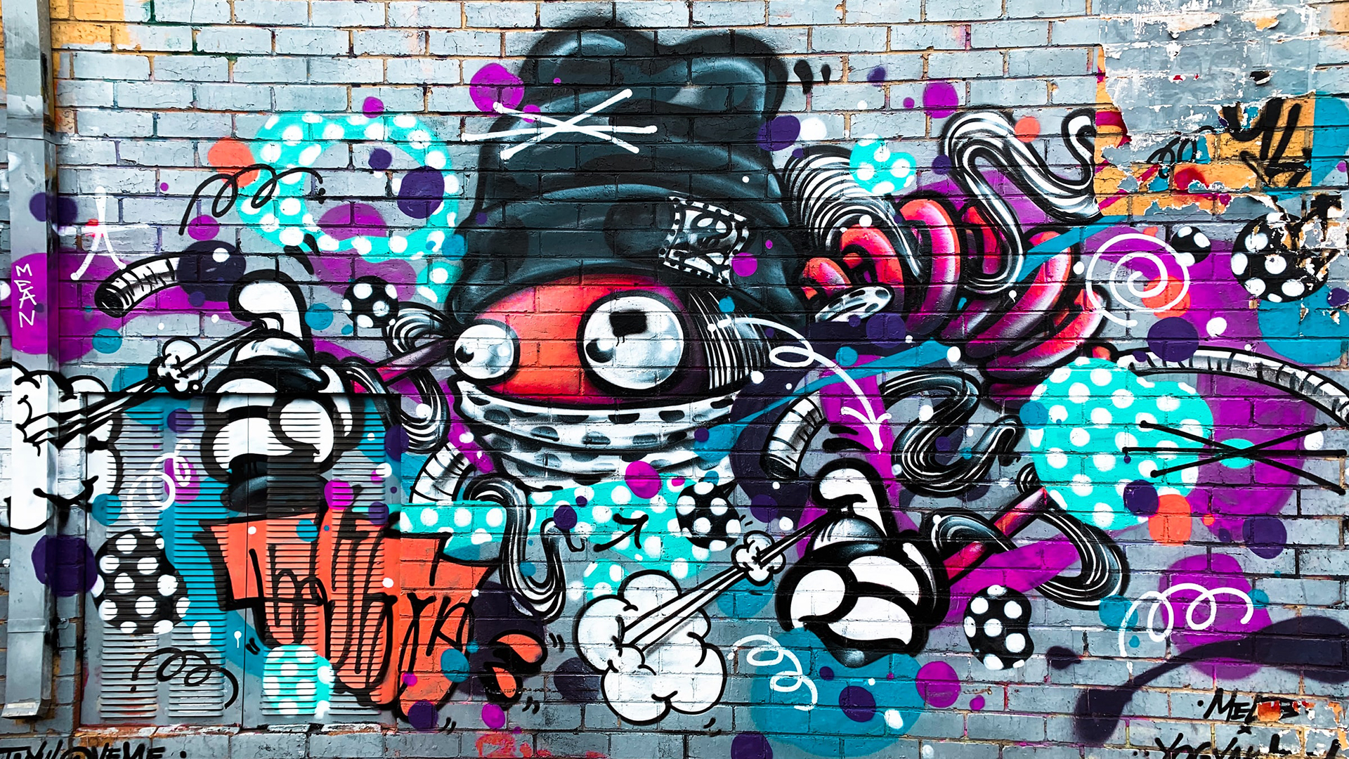 Colorful graffiti wall. Virtual background to use on Zoom, Microsoft Teams, Skype, Google Meet, WebEx or any other compatible app.