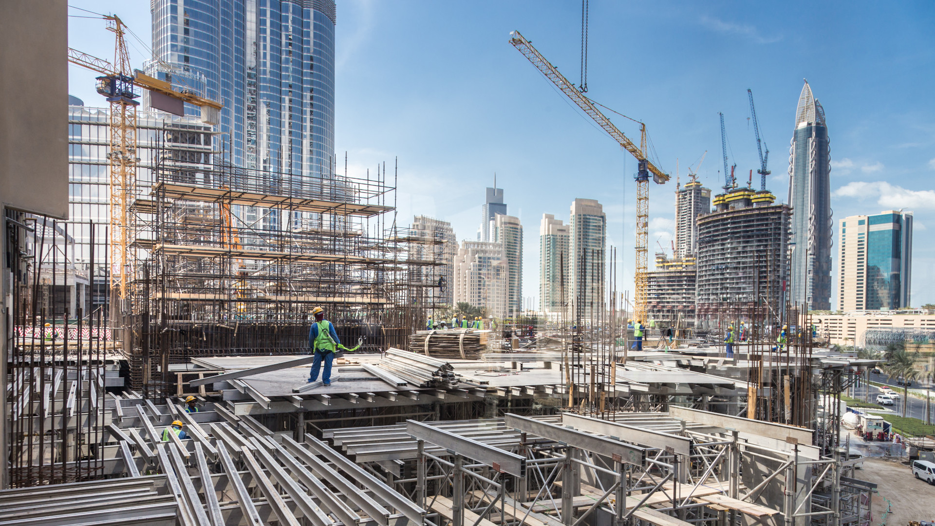 Construction site in Dubai. Virtual background to use on Zoom, Microsoft Teams, Skype, Google Meet, WebEx or any other compatible app.