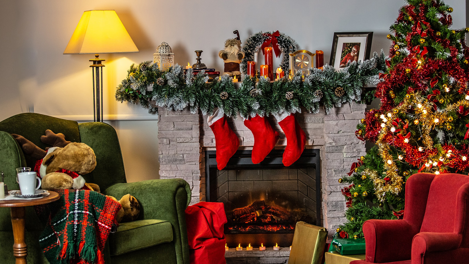 Small living room decorated for Christmas. Virtual background to use on Zoom, Microsoft Teams, Skype, Google Meet, WebEx or any other compatible app.