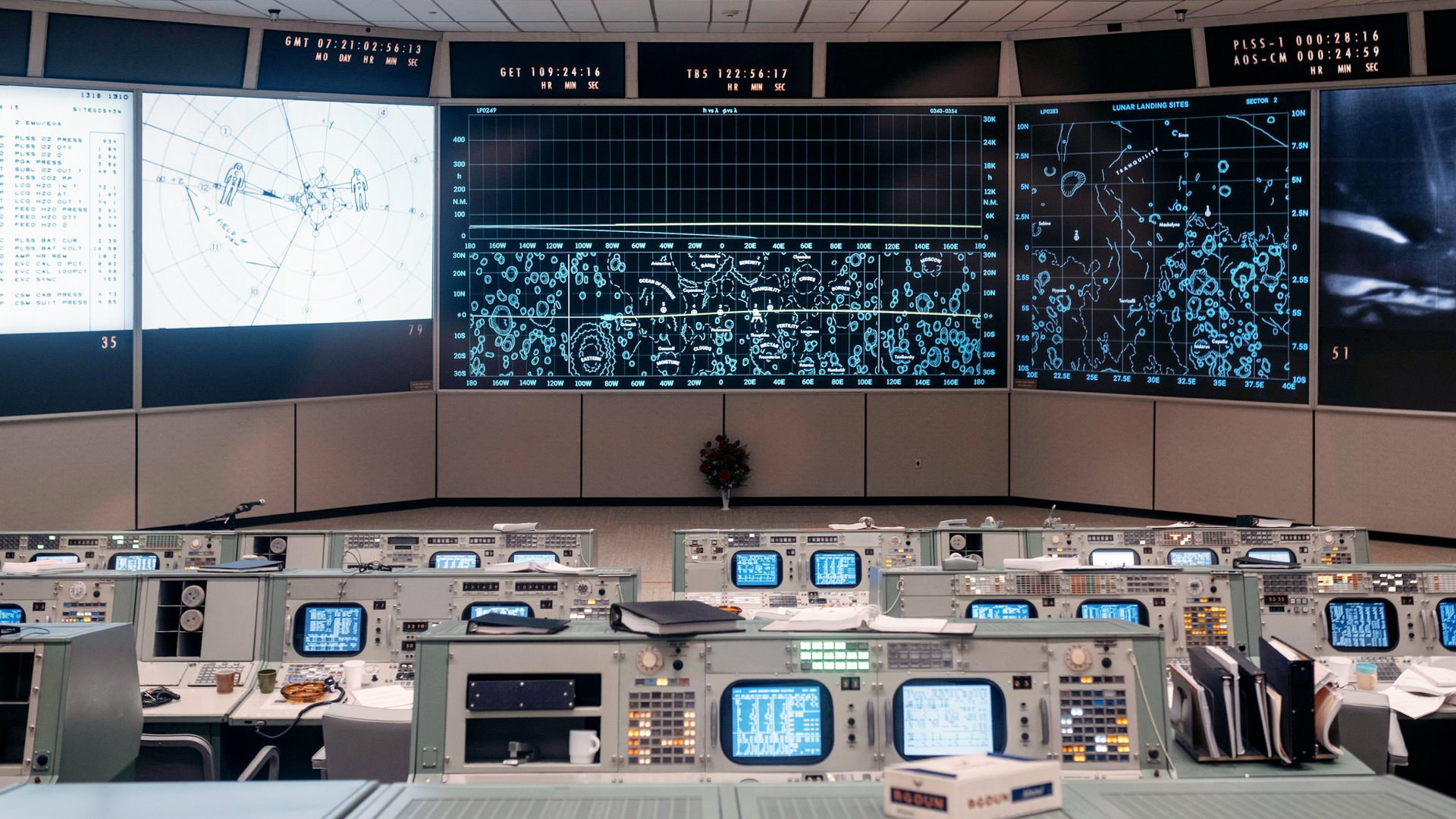 Apollo Mission Operations Control Room. Virtual background to use on Zoom, Microsoft Teams, Skype, Google Meet, WebEx or any other compatible app.