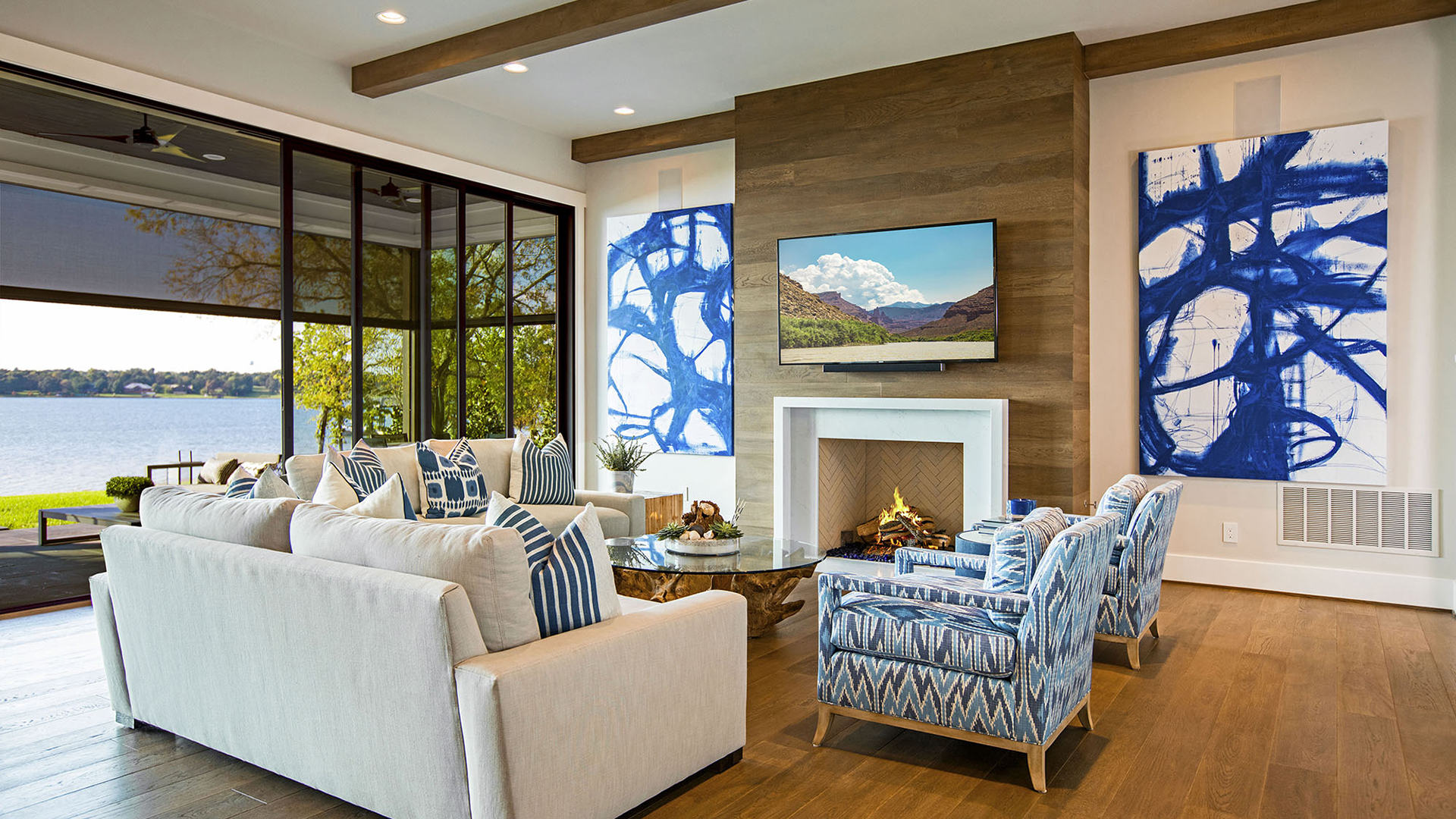 Living room overlooking a lake. Virtual background to use on Zoom, Microsoft Teams, Skype, Google Meet, WebEx or any other compatible app.