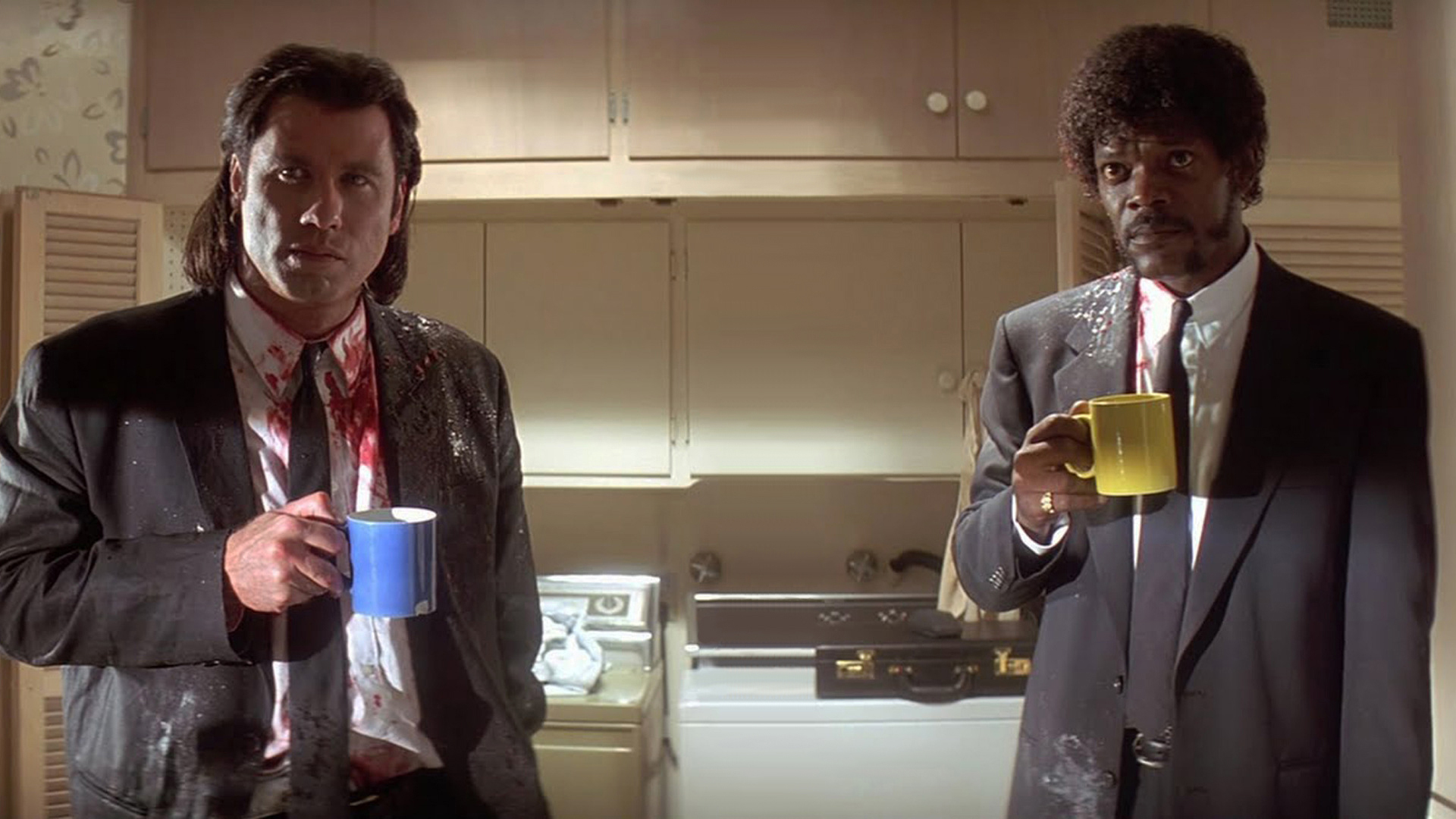 Pulp Fiction Vincent and Jules coffee. Virtual background to use on Zoom, Microsoft Teams, Skype, Google Meet, WebEx or any other compatible app.