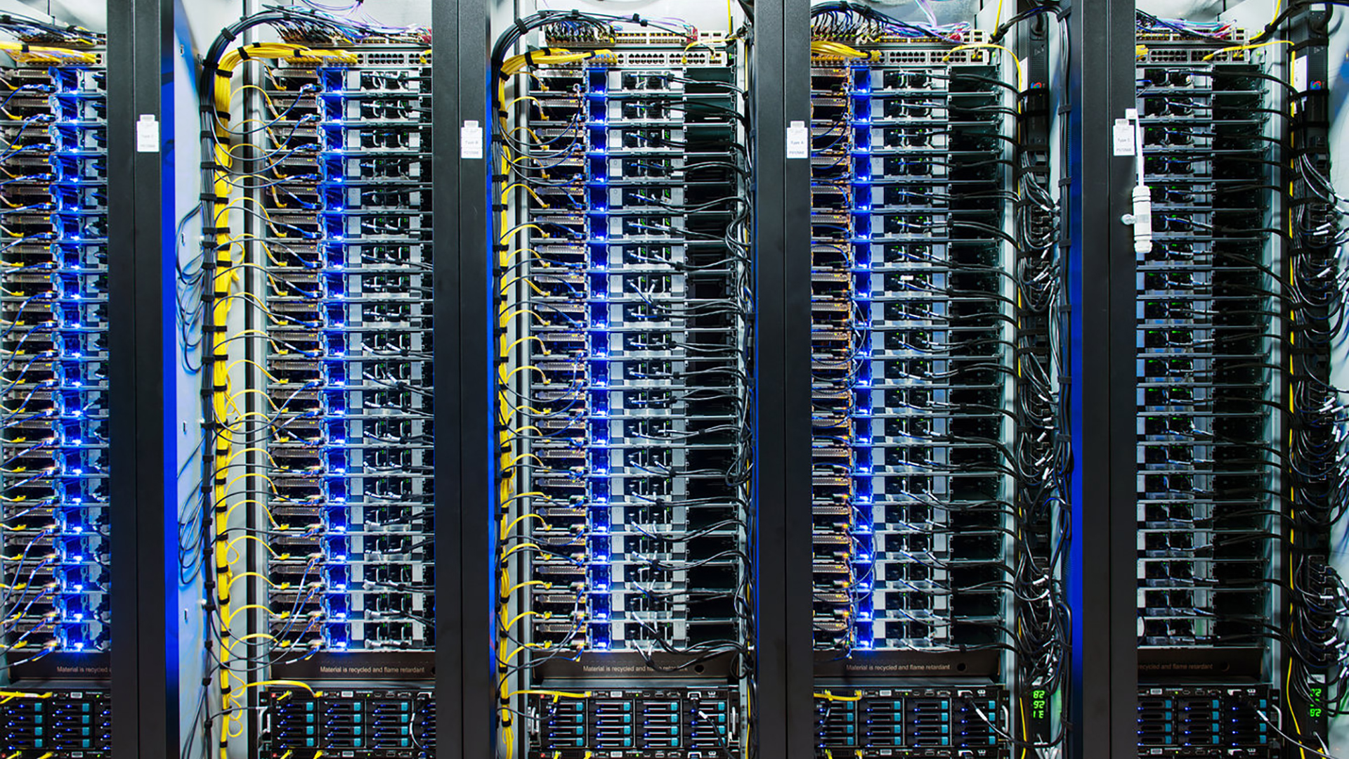Server racks at the Facebook Data Center. Virtual background to use on Zoom, Microsoft Teams, Skype, Google Meet, WebEx or any other compatible app.