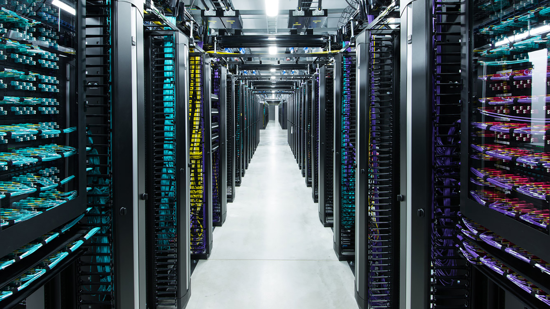 Server room at the Facebook data center. Virtual background to use on Zoom, Microsoft Teams, Skype, Google Meet, WebEx or any other compatible app.