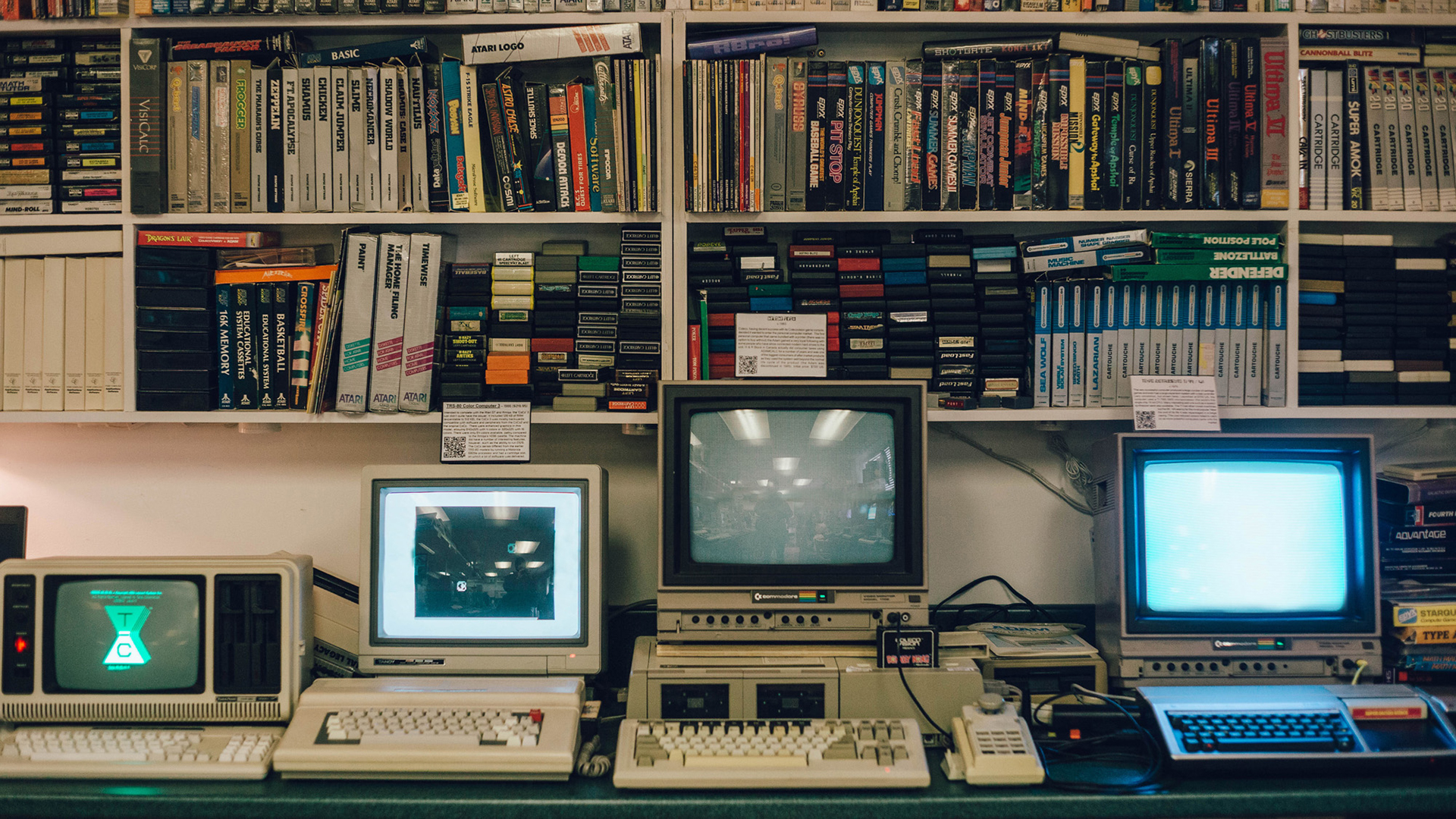 Vintage computers collection. Virtual background to use on Zoom, Microsoft Teams, Skype, Google Meet, WebEx or any other compatible app.