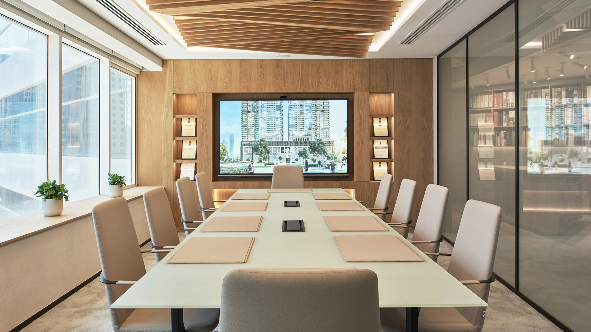 ATI Dubai office meeting room. Virtual background to use on Zoom, Microsoft Teams, Skype, Google Meet, WebEx or any other campatible app.