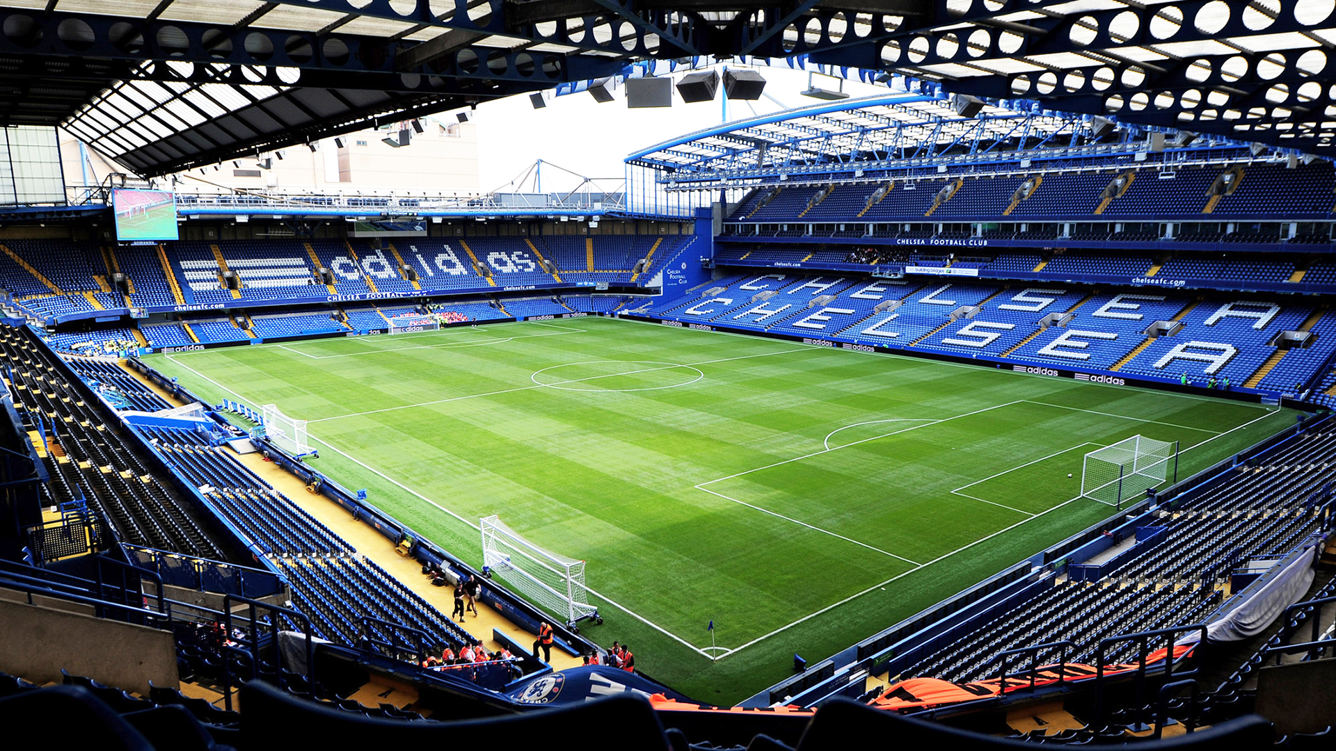 Stamford Bridge Stadium. Virtual background to use on Zoom, Microsoft Teams, Skype, Google Meet, WebEx or any other compatible app.