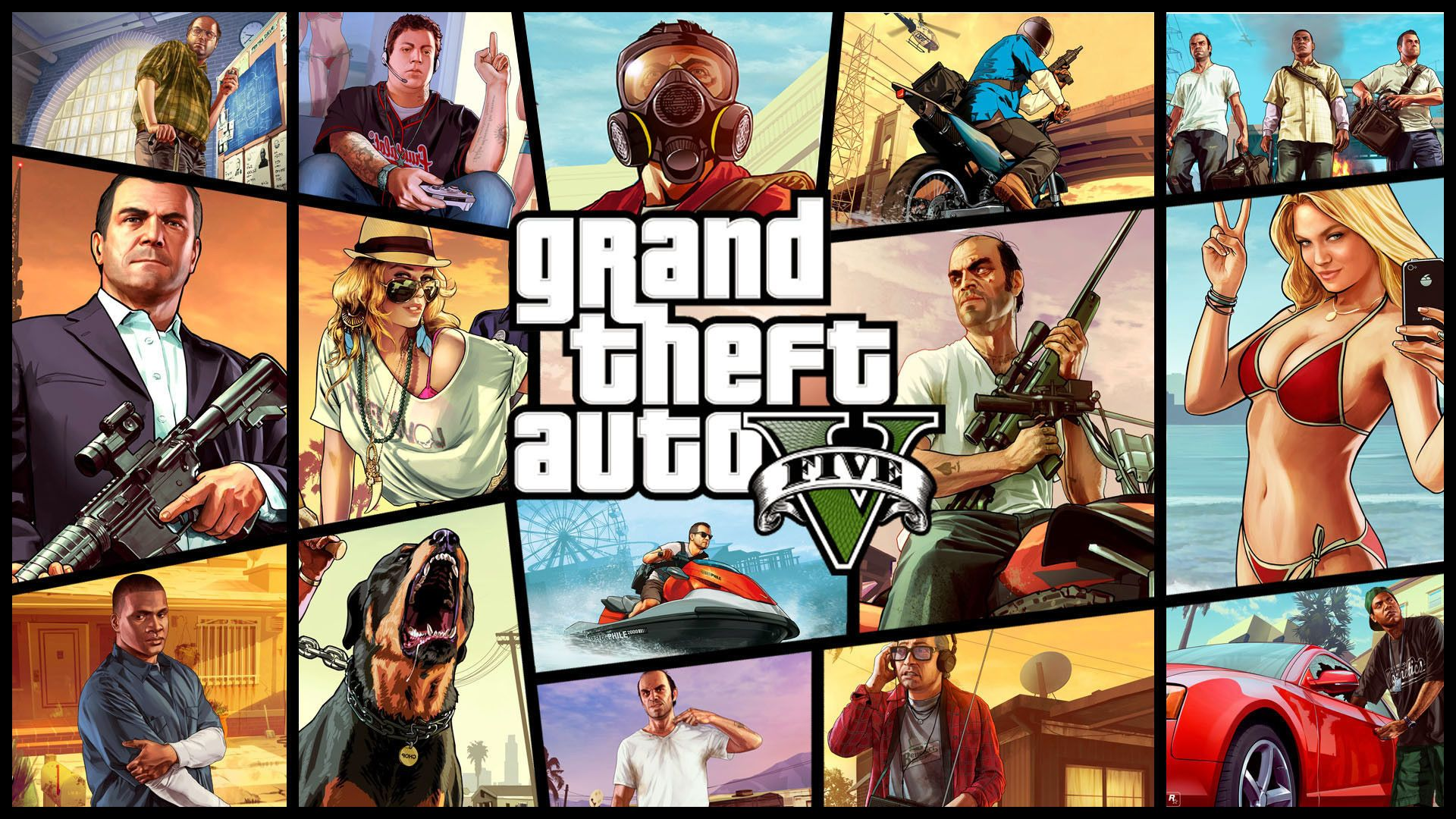 Grand Theft Auto V cover art. Virtual background to use on Zoom, Microsoft Teams, Skype, Google Meet, WebEx or any other compatible app.