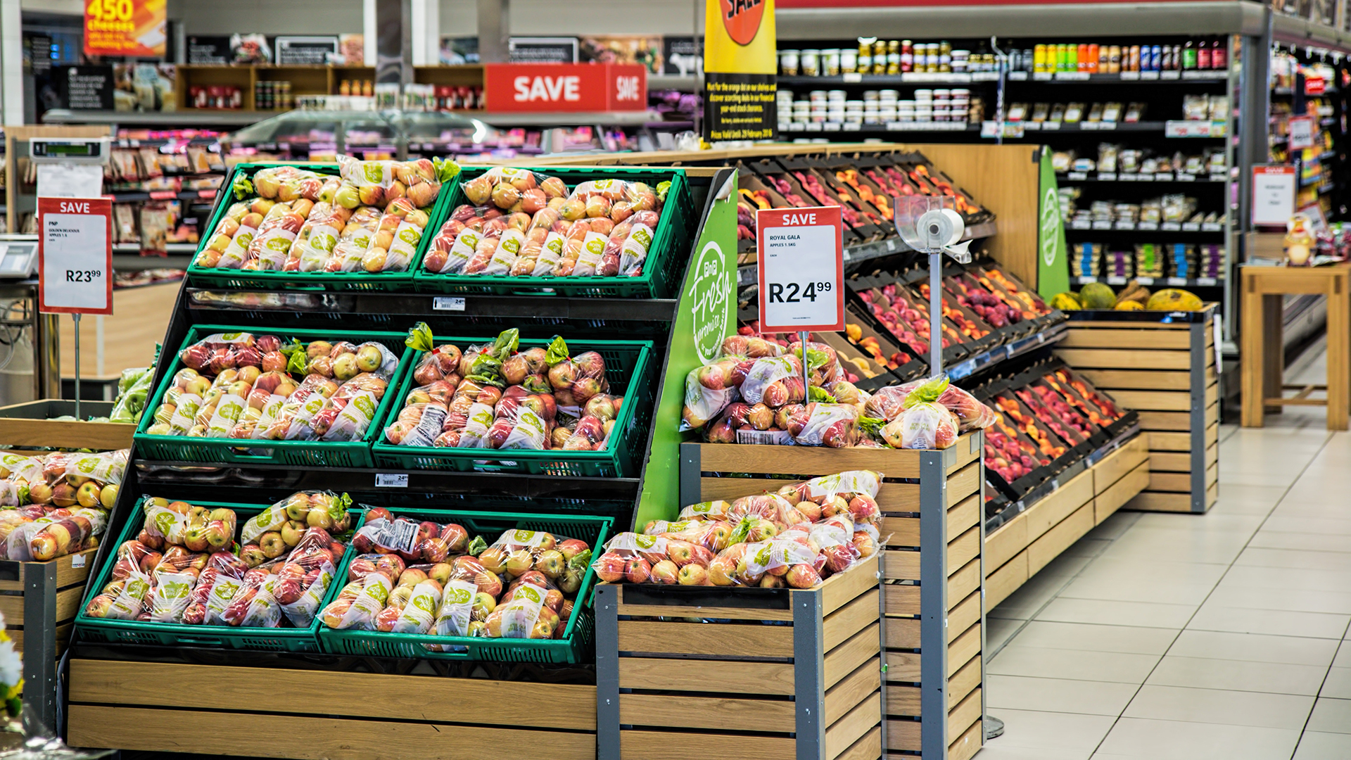 Produce department in a supermarket. Virtual background to use on Zoom, Microsoft Teams, Skype, Google Meet, WebEx or any other compatible app.