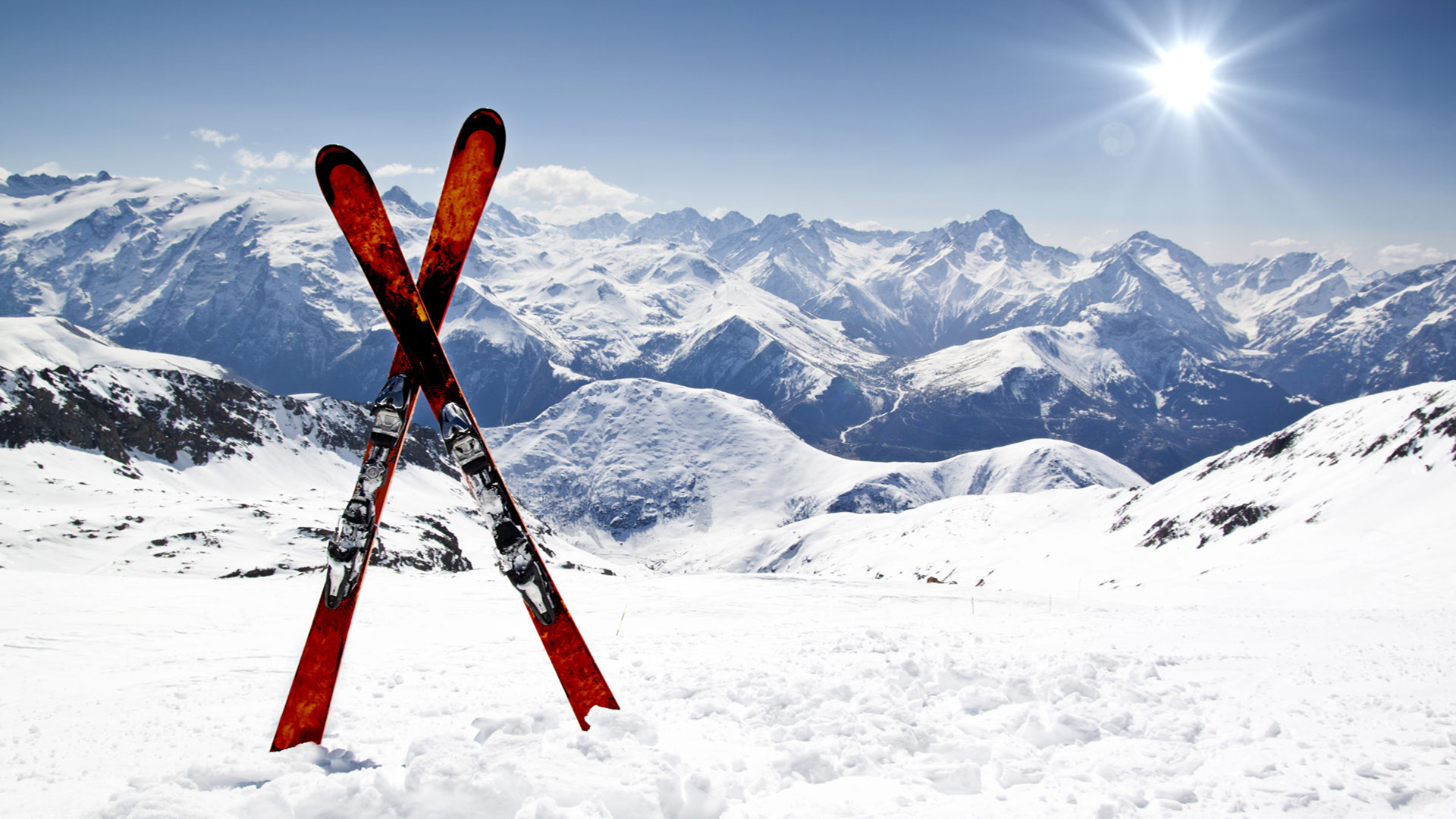 Skiing with a view over the mountains. Virtual background to use on Zoom, Microsoft Teams, Skype, Google Meet, WebEx or any other compatible app.