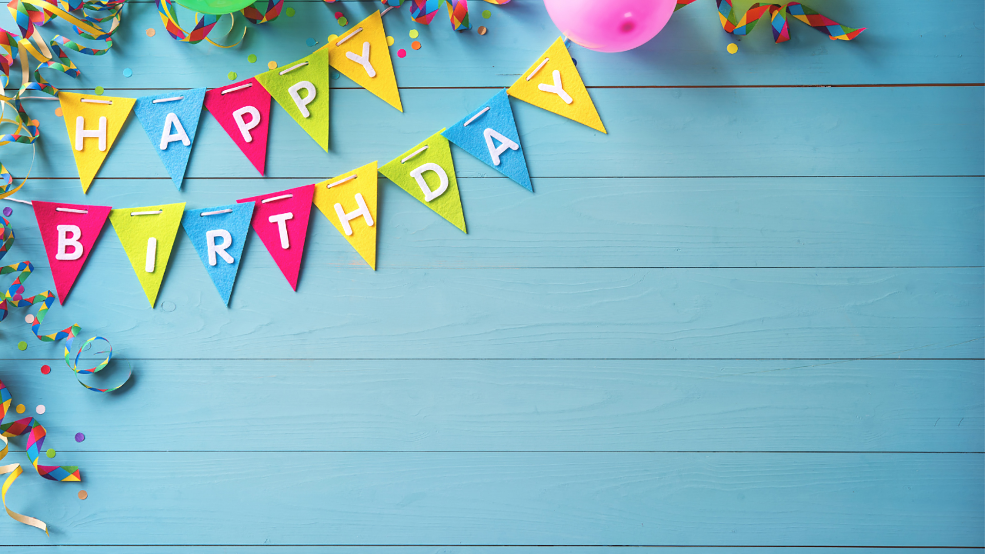 Happy Birthday bunting. Virtual background to use on Zoom, Microsoft Teams, Skype, Google Meet, WebEx or any other compatible app.